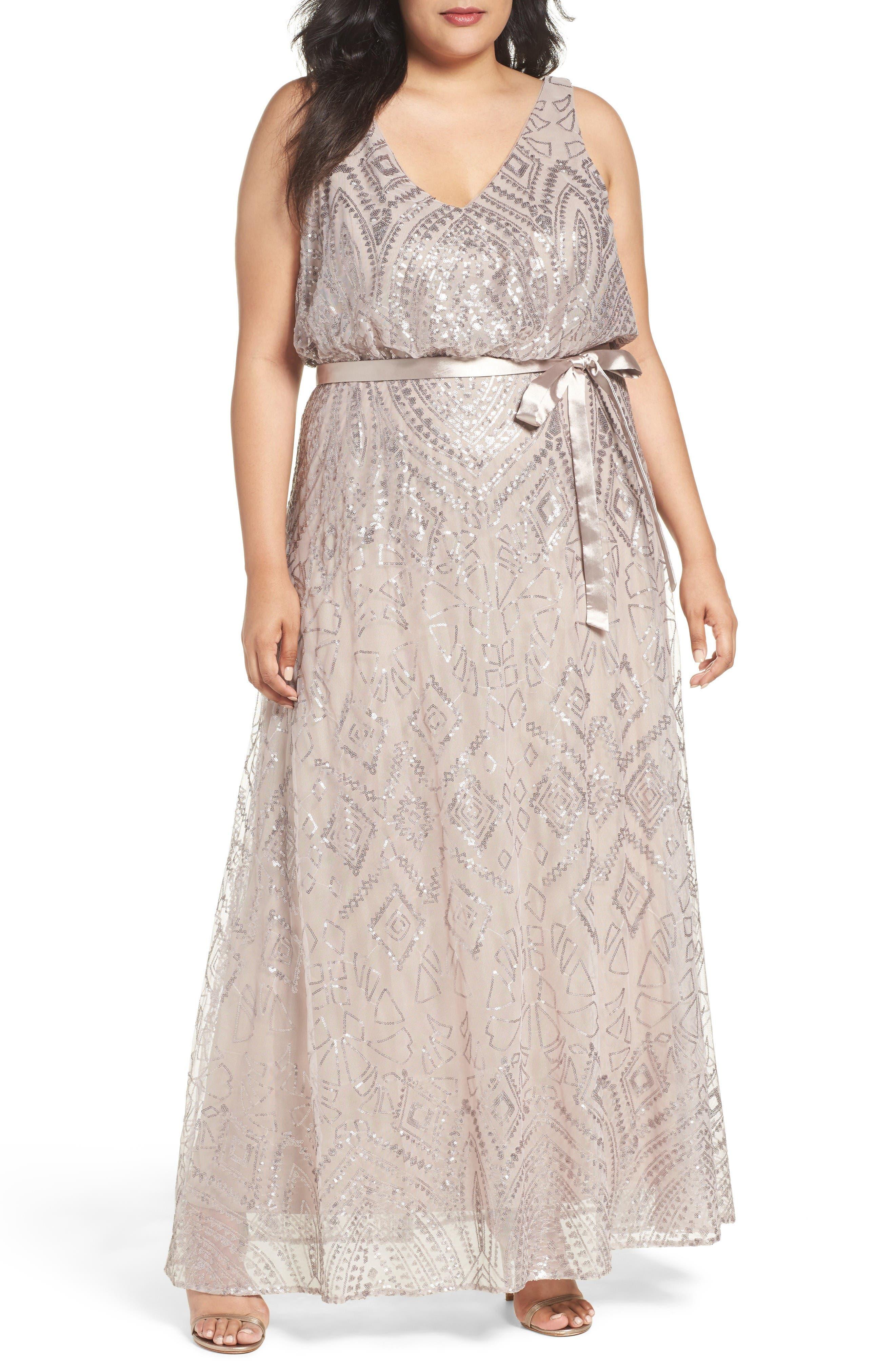 MARINA Sequin Mesh Belted Long Dress