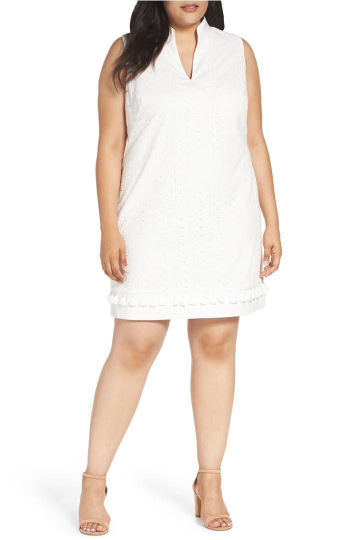 Eliza J Mandarin Collar Shift Dress Plus Size Nordstrom