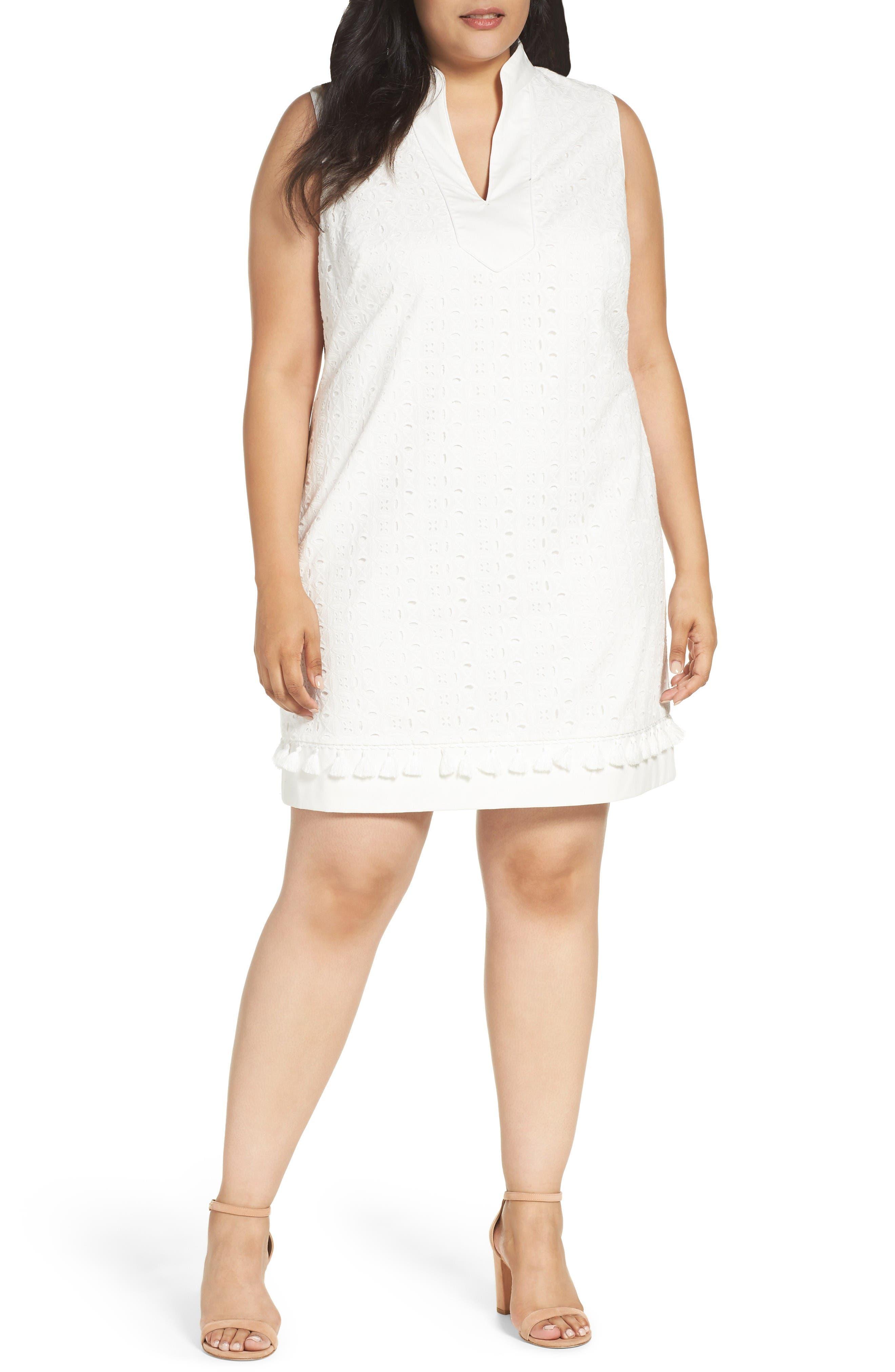 Eliza J Mandarin Collar Shift Dress (Plus Size)