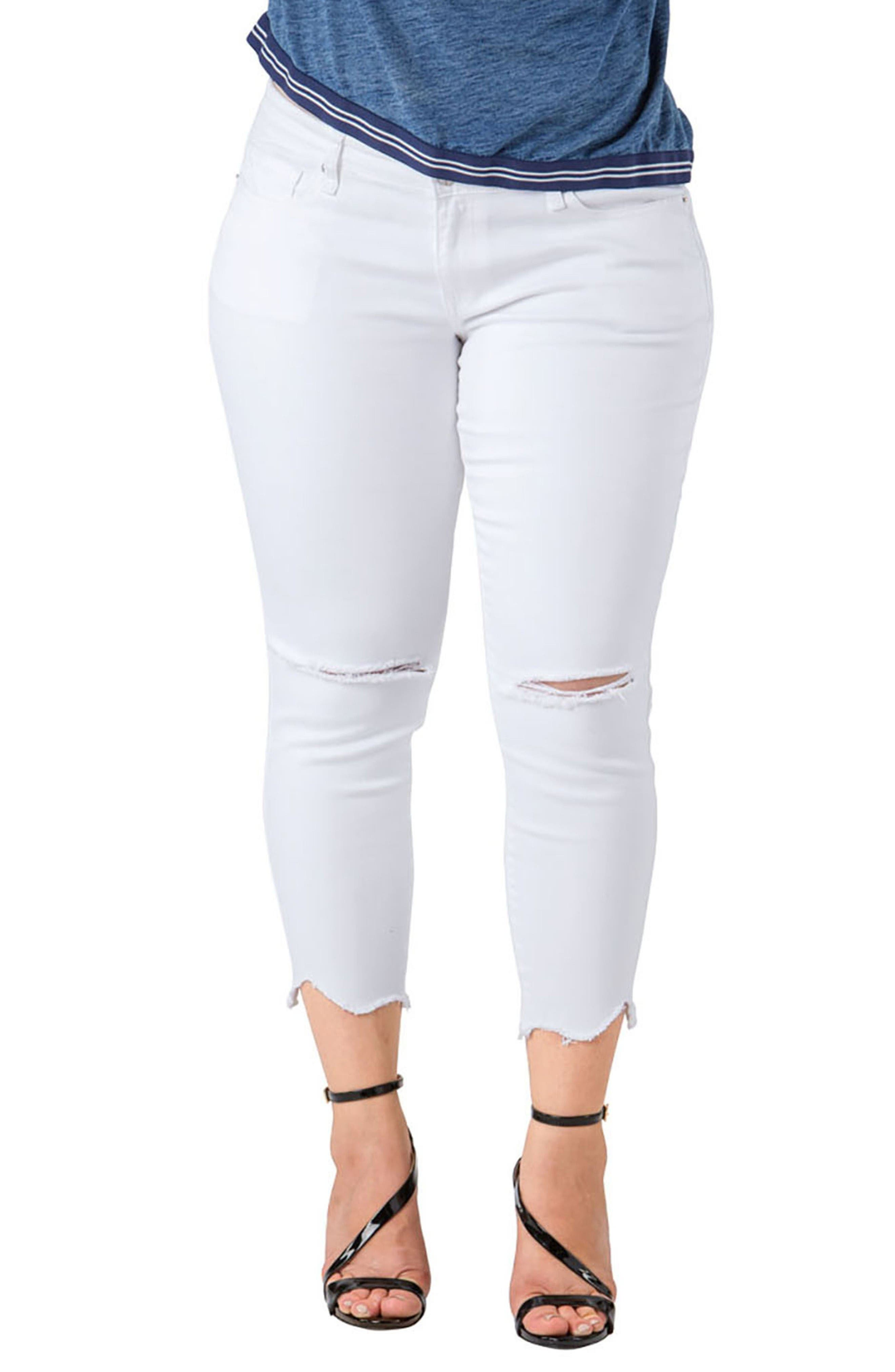 Standards & Practices Tessa Chewed Hem Stretch Skinny Jeans (Plus Size)