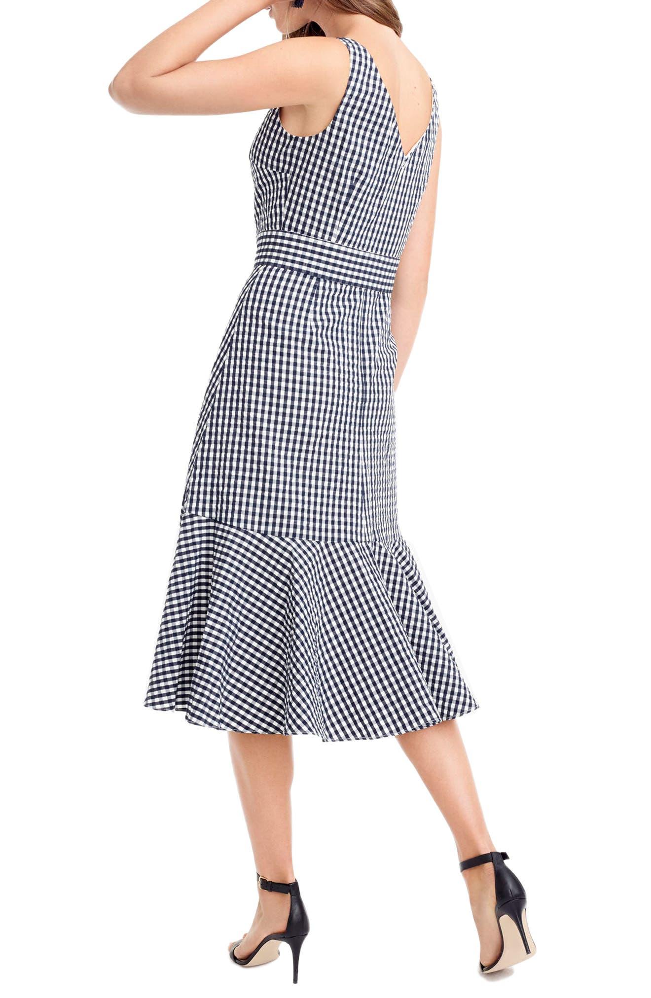 Alternate Image 2  - J.Crew Gingham Ruffle Hem Midi Dress (Regular & Petite)