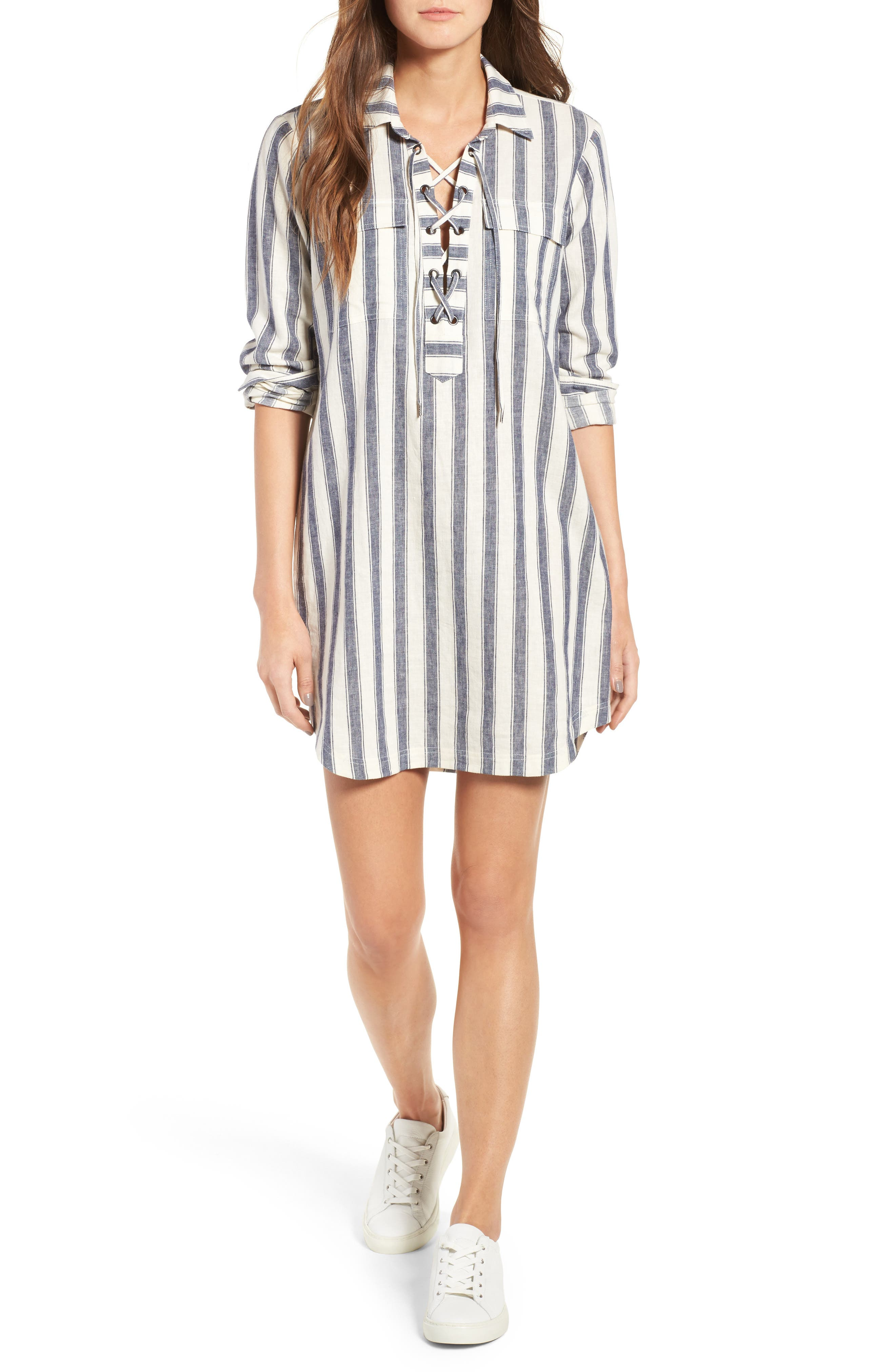 Alternate Image 1 Selected - Madewell Stripe Linen & Cotton Shirtdress
