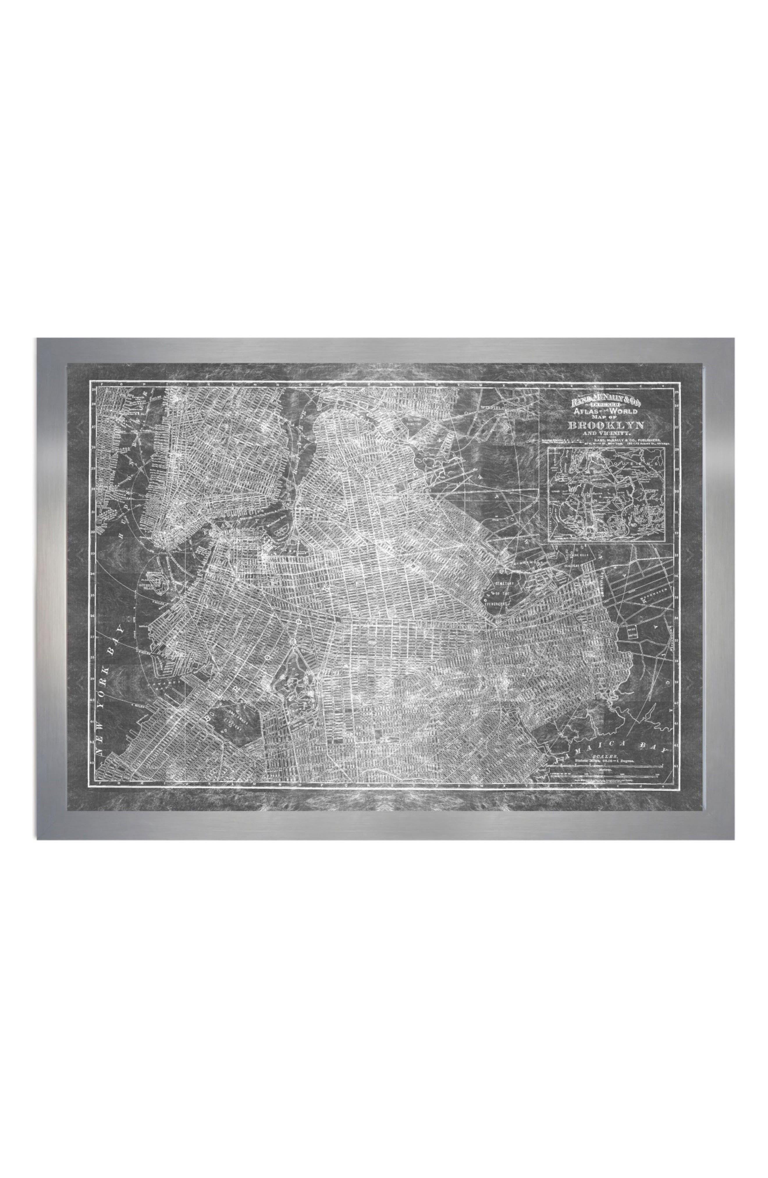 Oliver Gal Brooklyn Map 1891 Framed Art Print