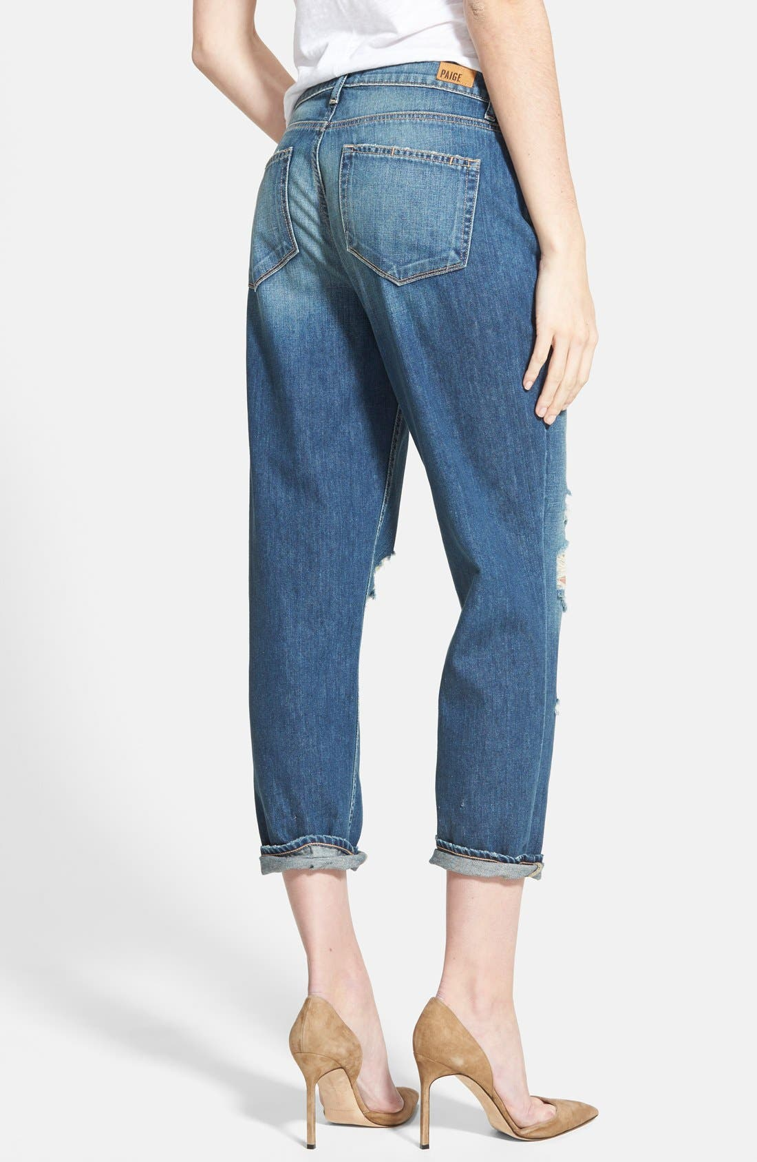 Alternate Image 2  - Paige Denim 'Callie' Crop Boyfriend Jeans (Danica Destructed Blue)
