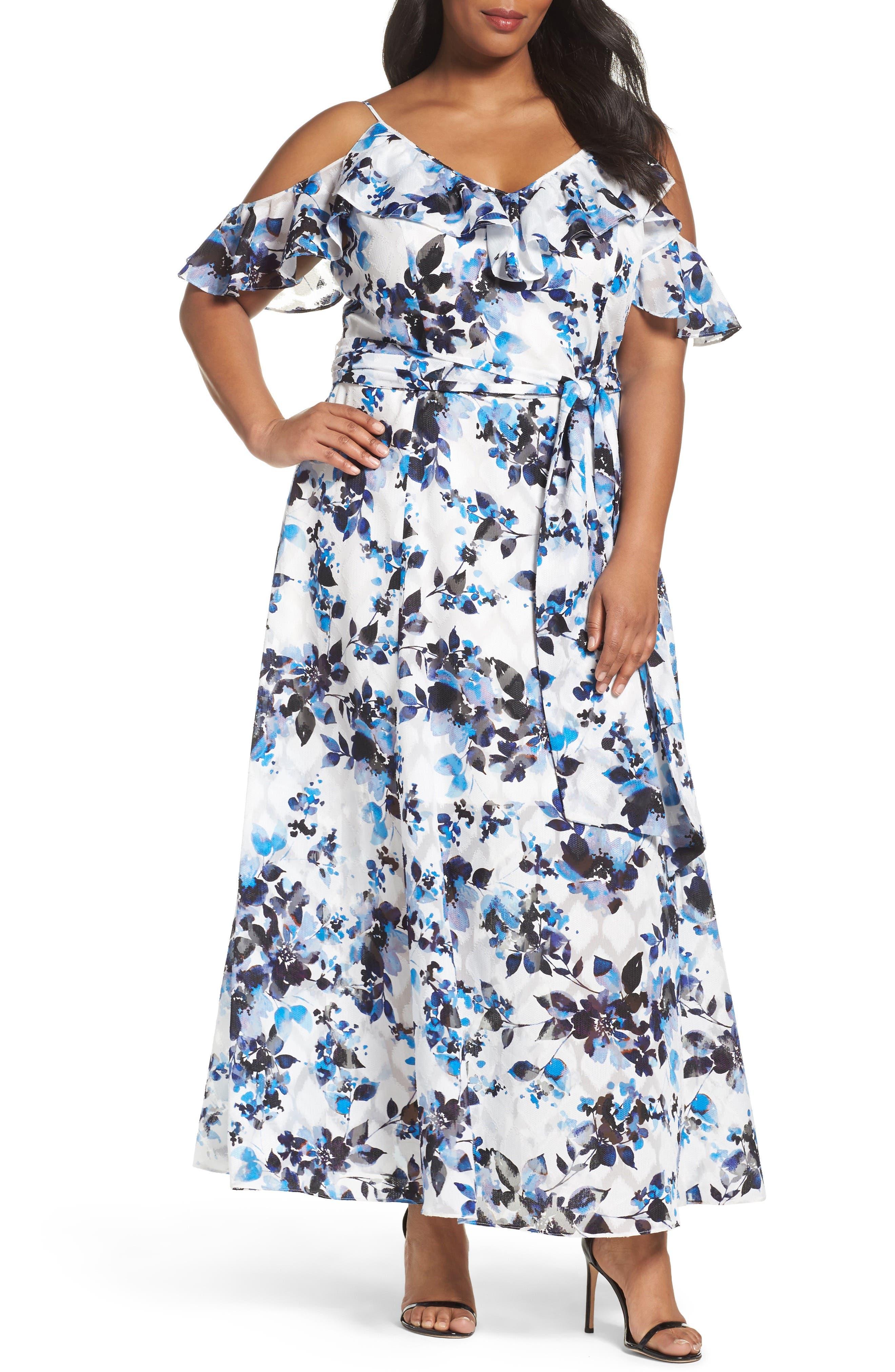 Eliza J Floral Print Maxi Dress (Plus Size)