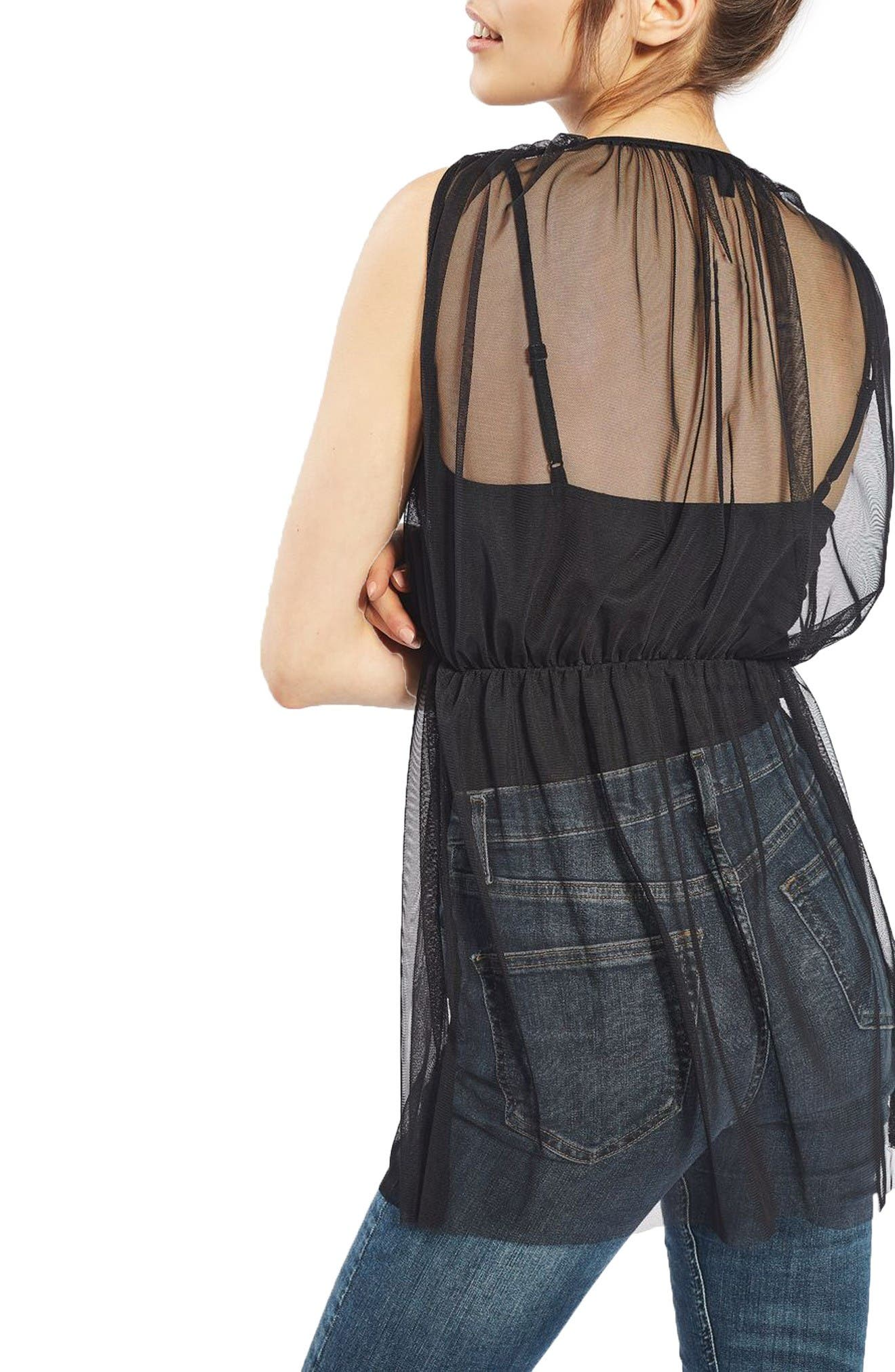 Alternate Image 3  - Topshop Tulle Overlay Bodysuit