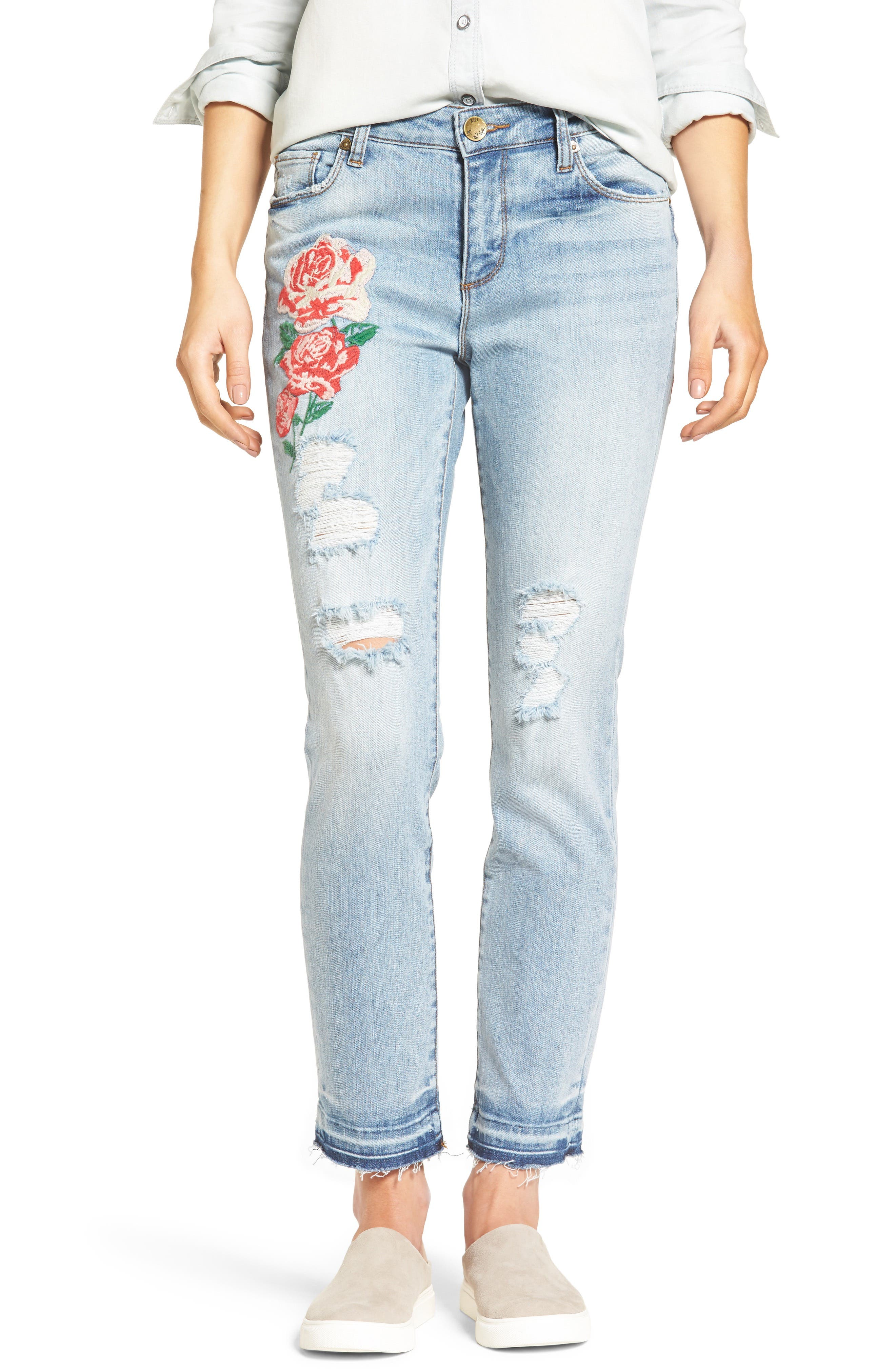 Alternate Image 1 Selected - KUT from the Kloth Embroidered Straight Leg Jeans (Excellency) (Regular & Petite)