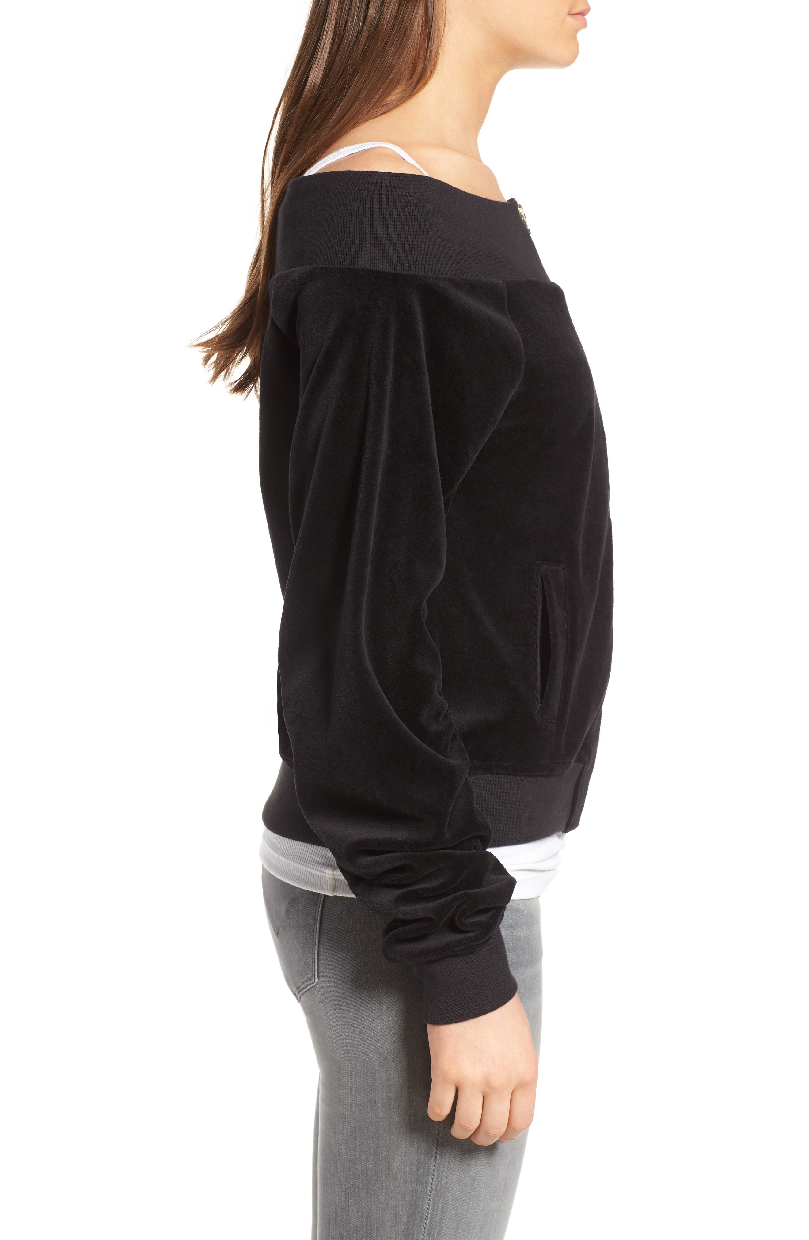 Alternate Image 3  - Juicy Couture Off the Shoulder Velour Track Jacket