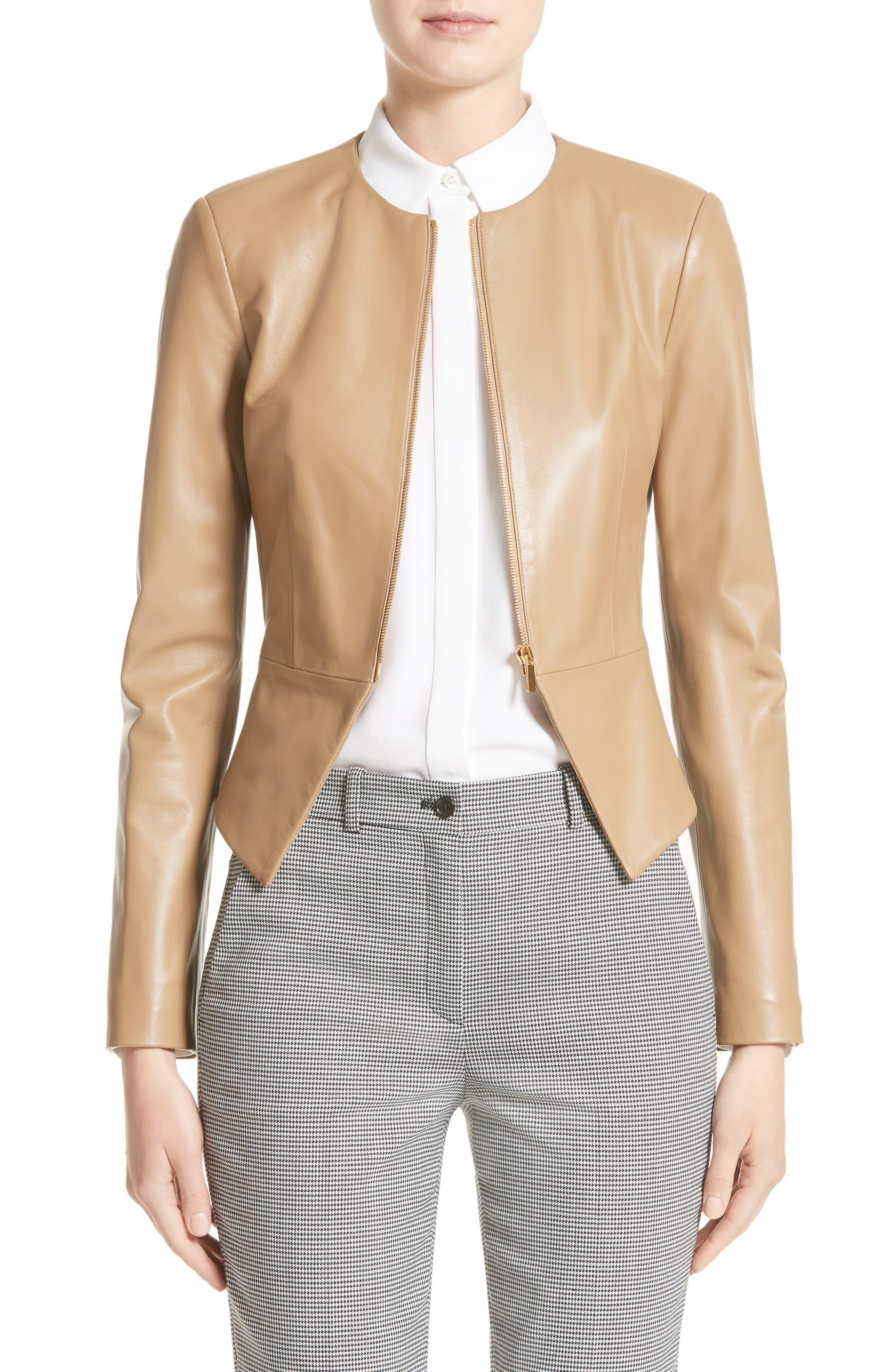 Michael Kors Lambskin Leather Peplum Jacket