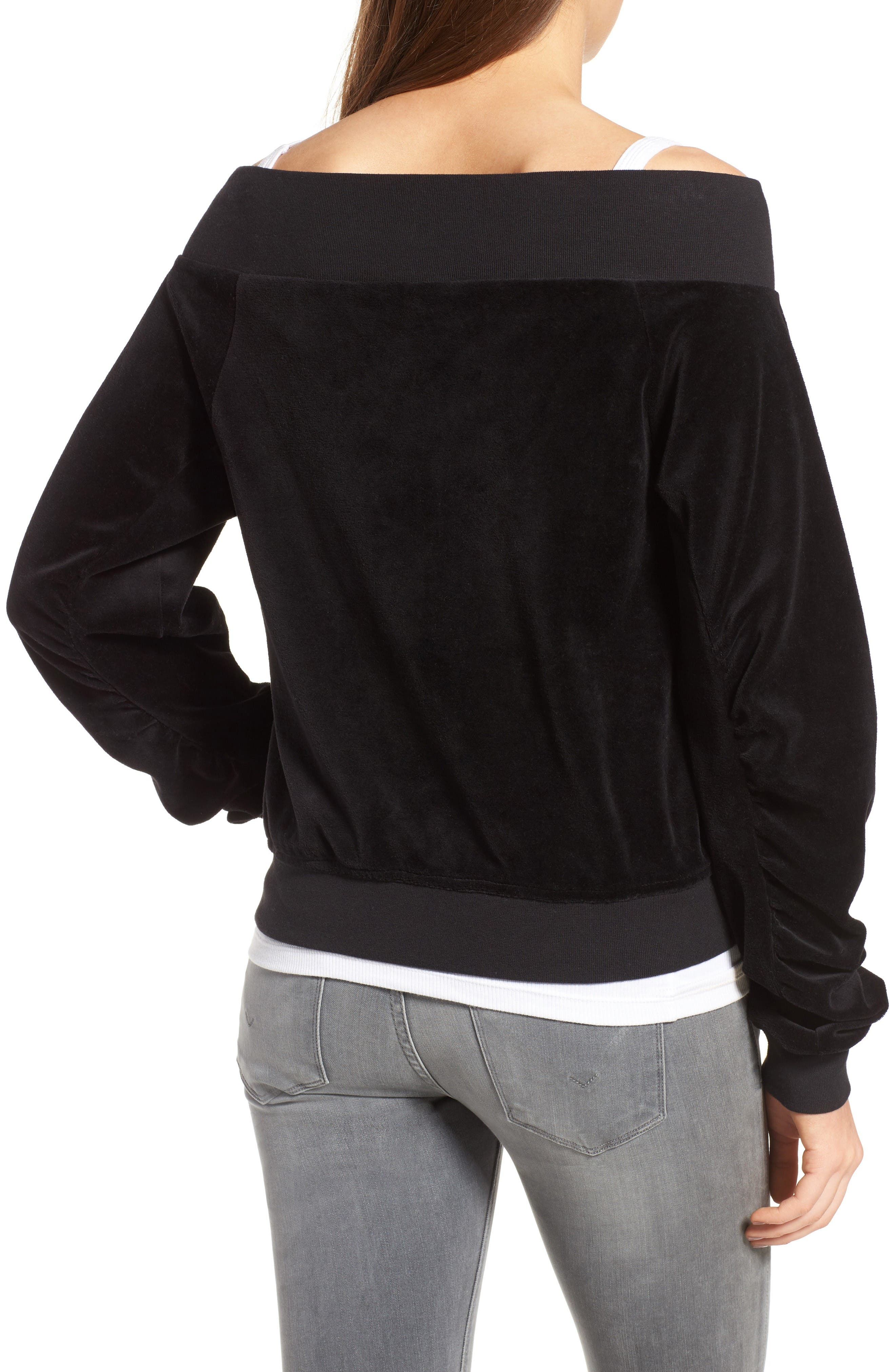 Alternate Image 2  - Juicy Couture Off the Shoulder Velour Track Jacket