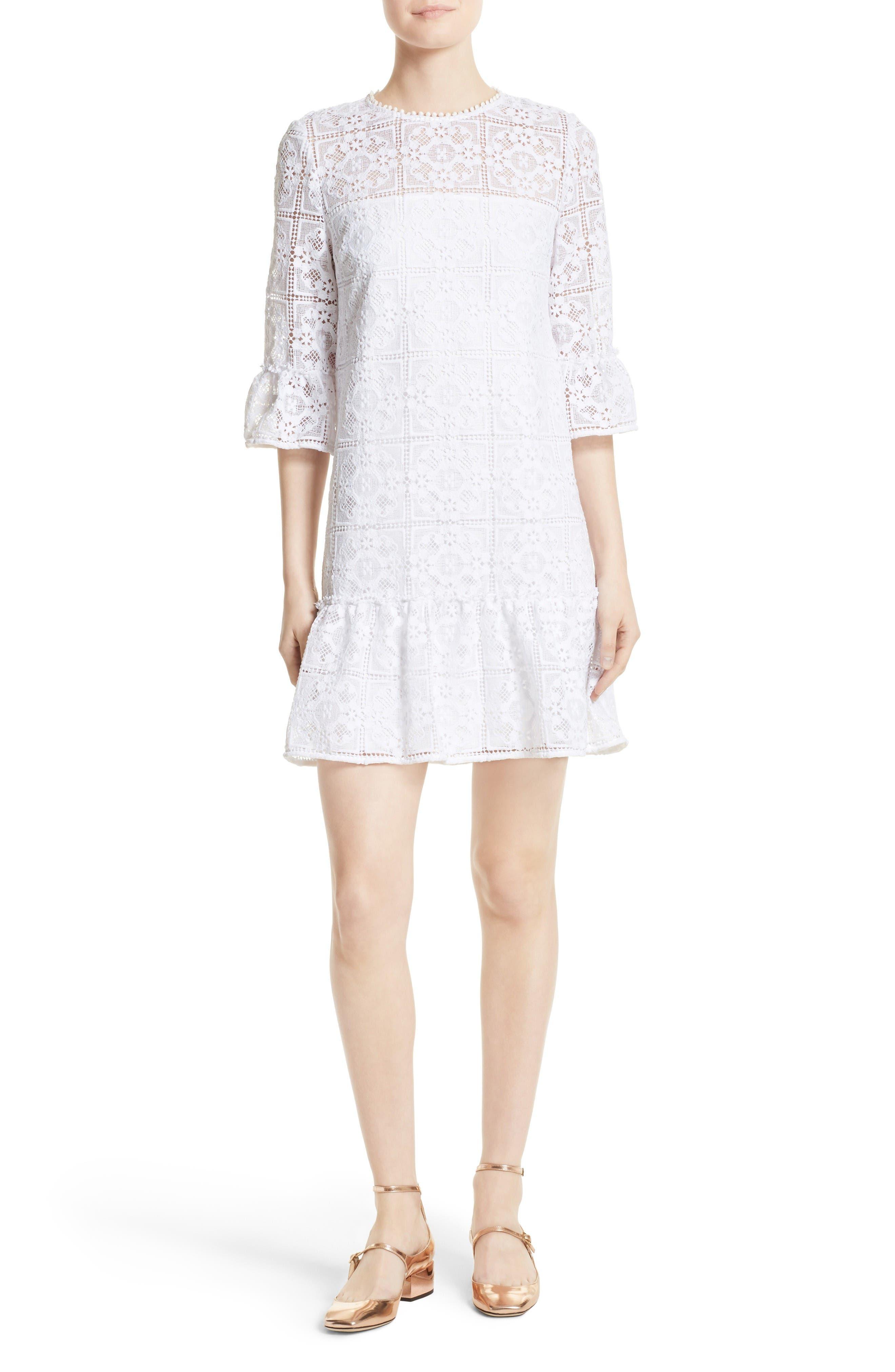 kate spade new york flounce lace shift dress