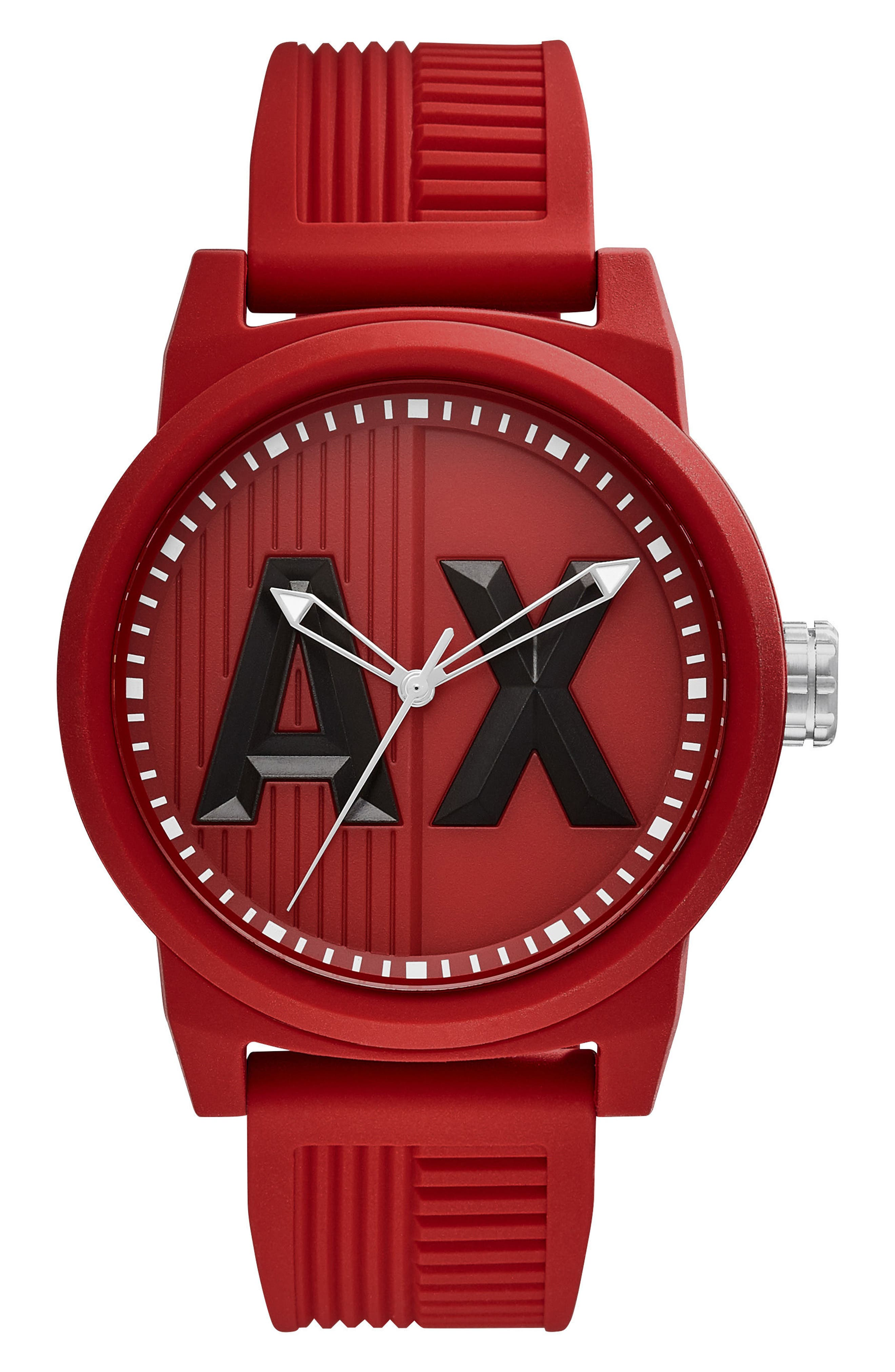 Main Image - AX Armani Exchange ATLC Logo Silicone Strap Watch, 46mm