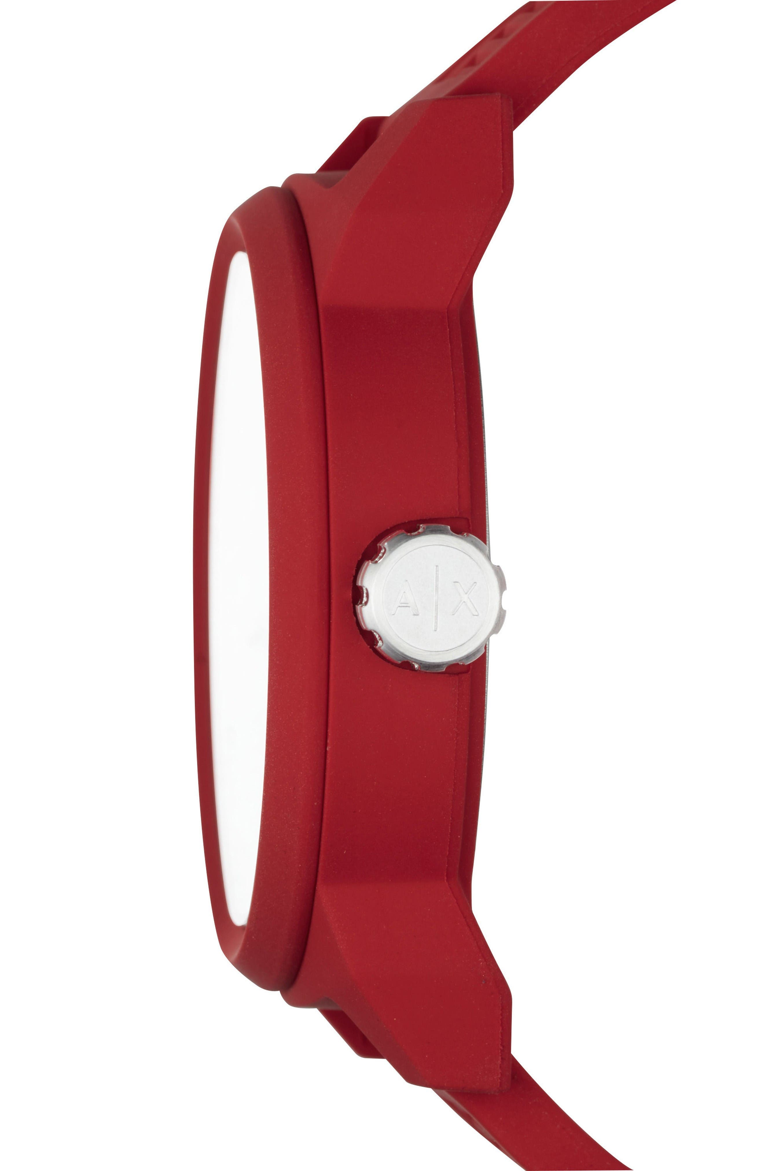 Alternate Image 2  - AX Armani Exchange ATLC Logo Silicone Strap Watch, 46mm
