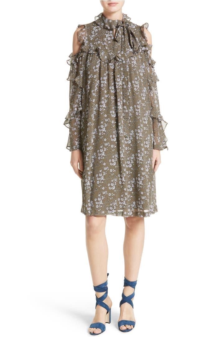 Robert Rodriguez Floral Print Silk Cold Shoulder Dress Nordstrom