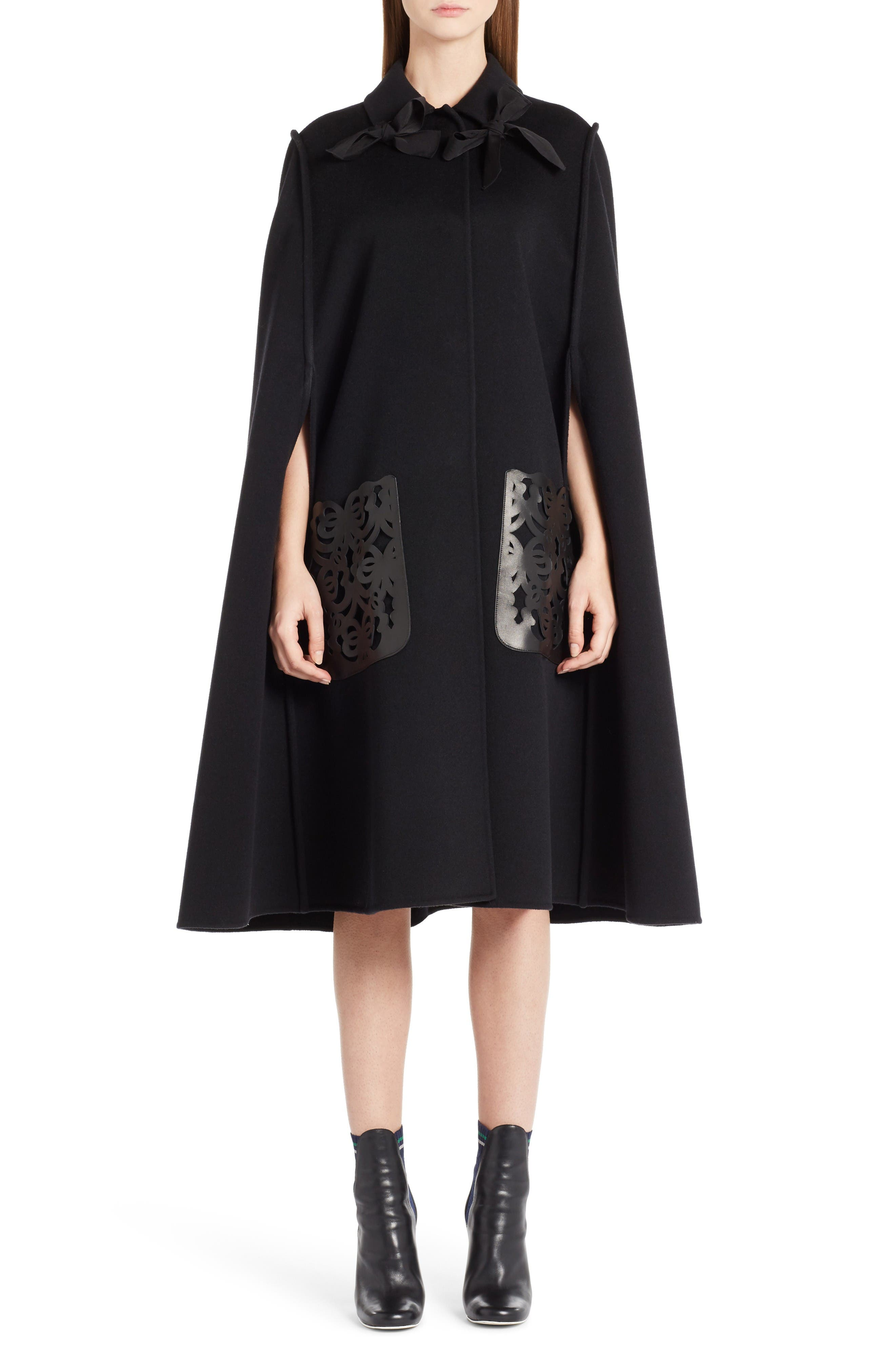 Fendi Leather Pocket Wool Cape