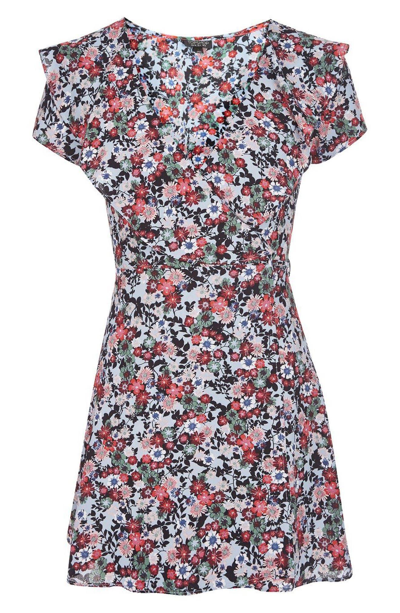 Alternate Image 4  - Topshop Sky Floral Wrap Dress