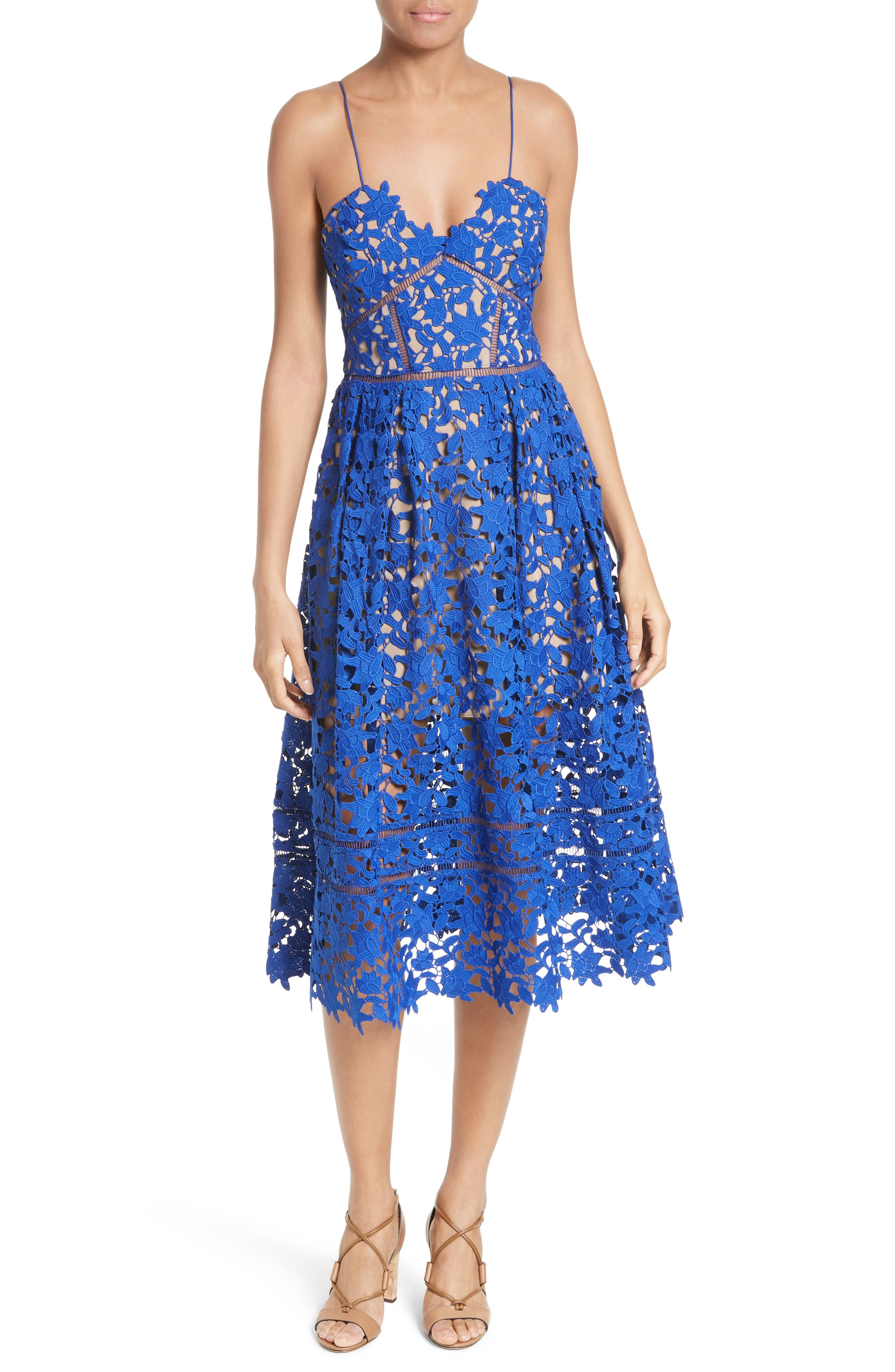 Self-Portrait 'Azaelea' Lace Fit & Flare Dress