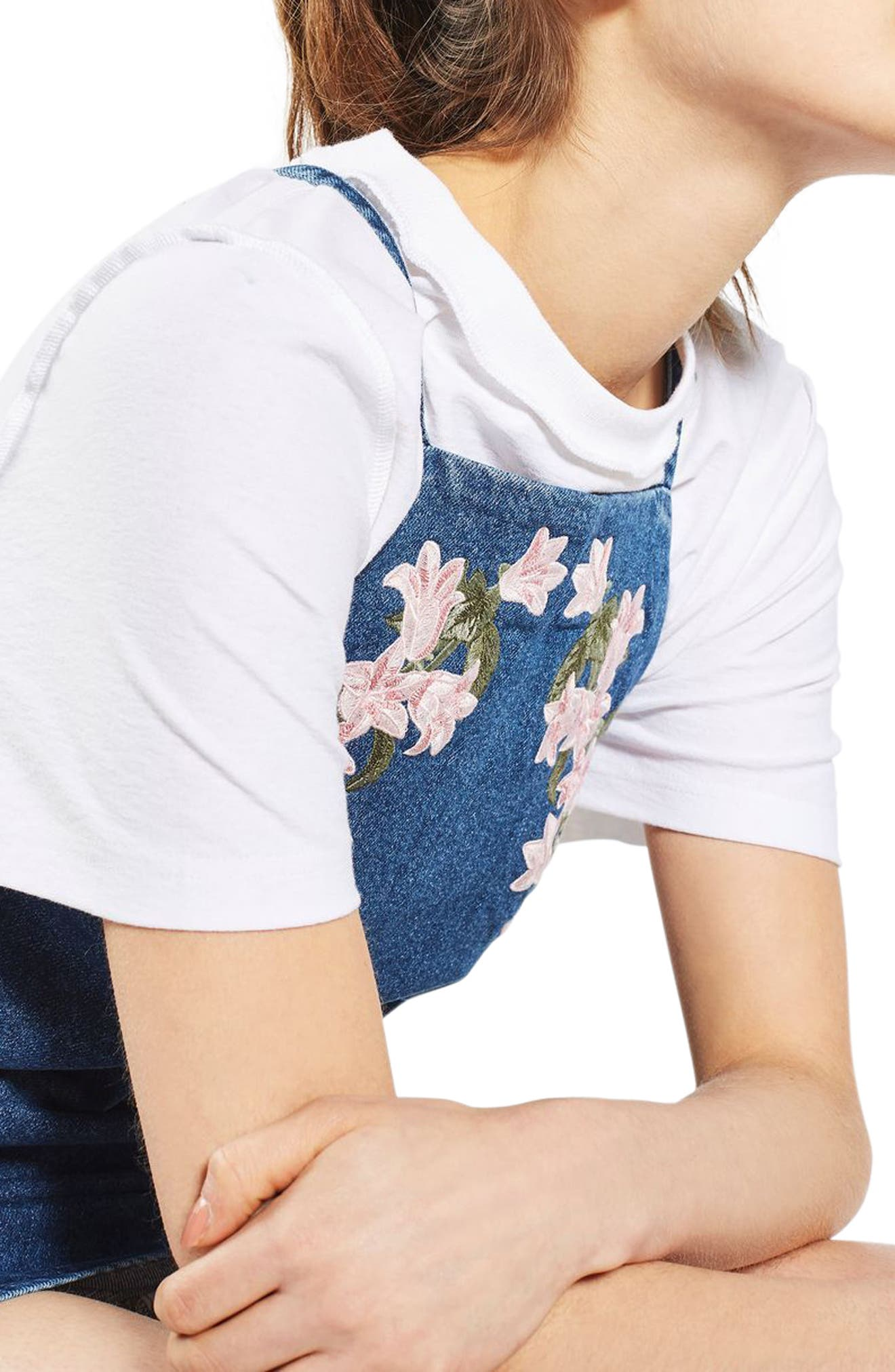 Alternate Image 6  - Topshop Tulip Embroidered Pinafore Dress
