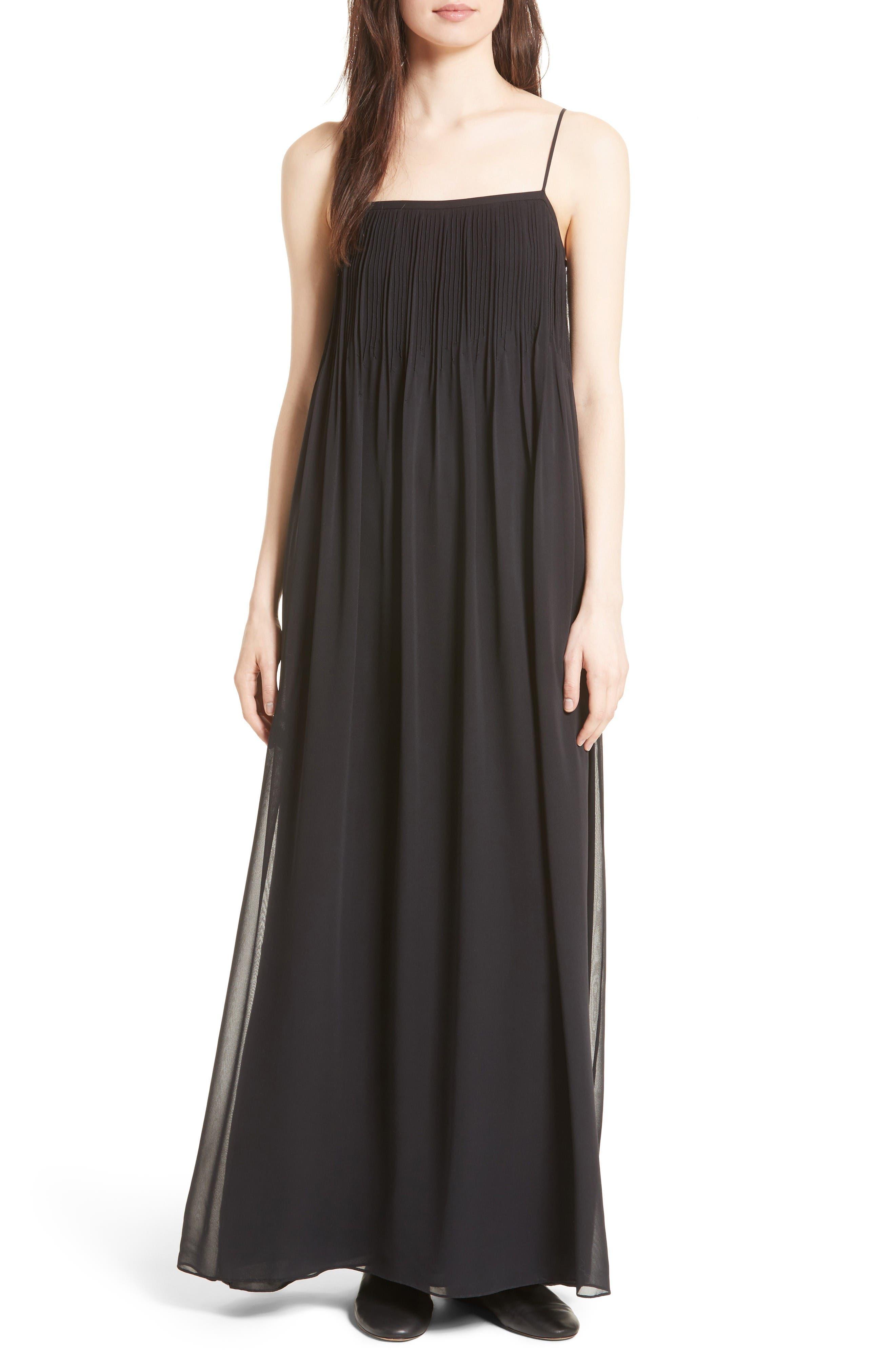 Vince Pintuck Silk Maxi Dress