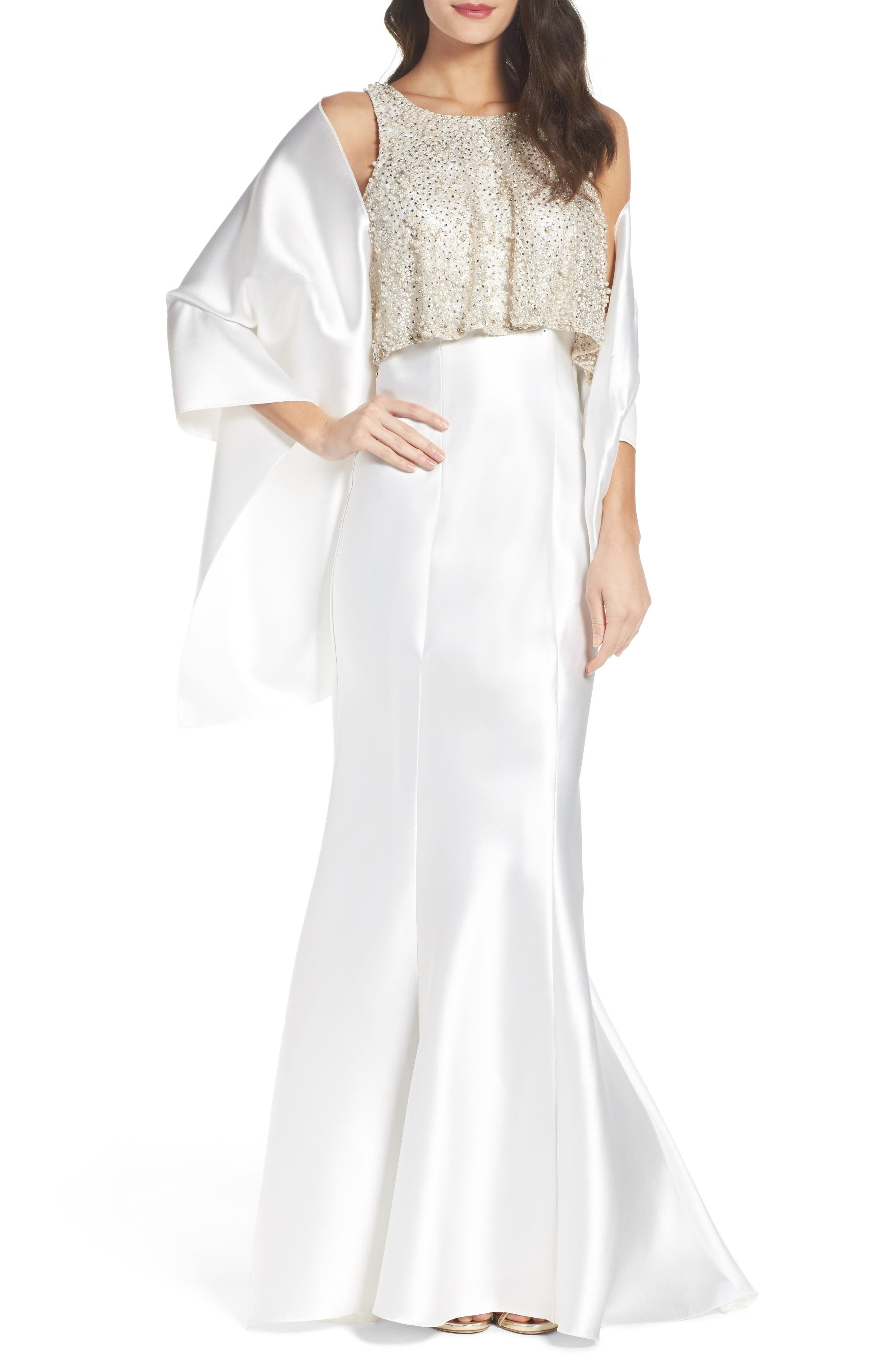Alternate Image 1 Selected - Mac Duggal Embellished Trumpet Gown & Shawl