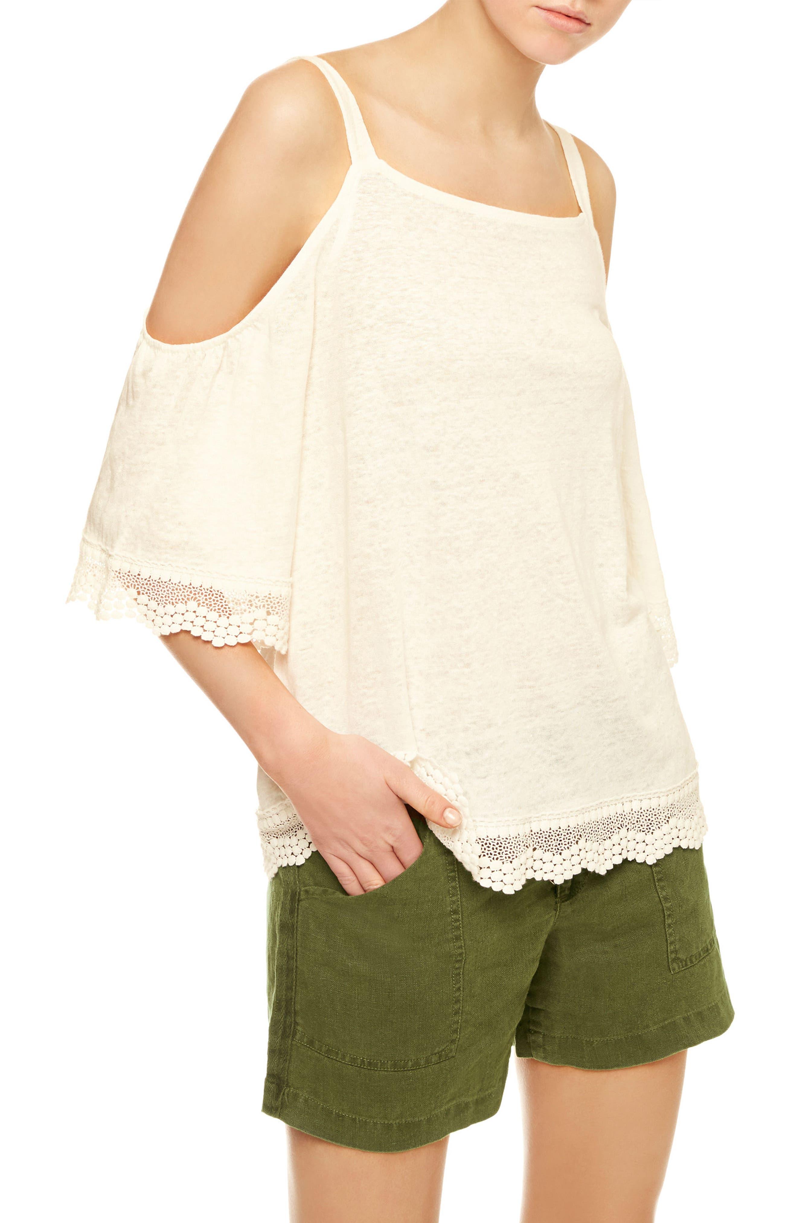 Alternate Image 1 Selected - Sanctuary Harmony Lace Trim Linen Knit Top