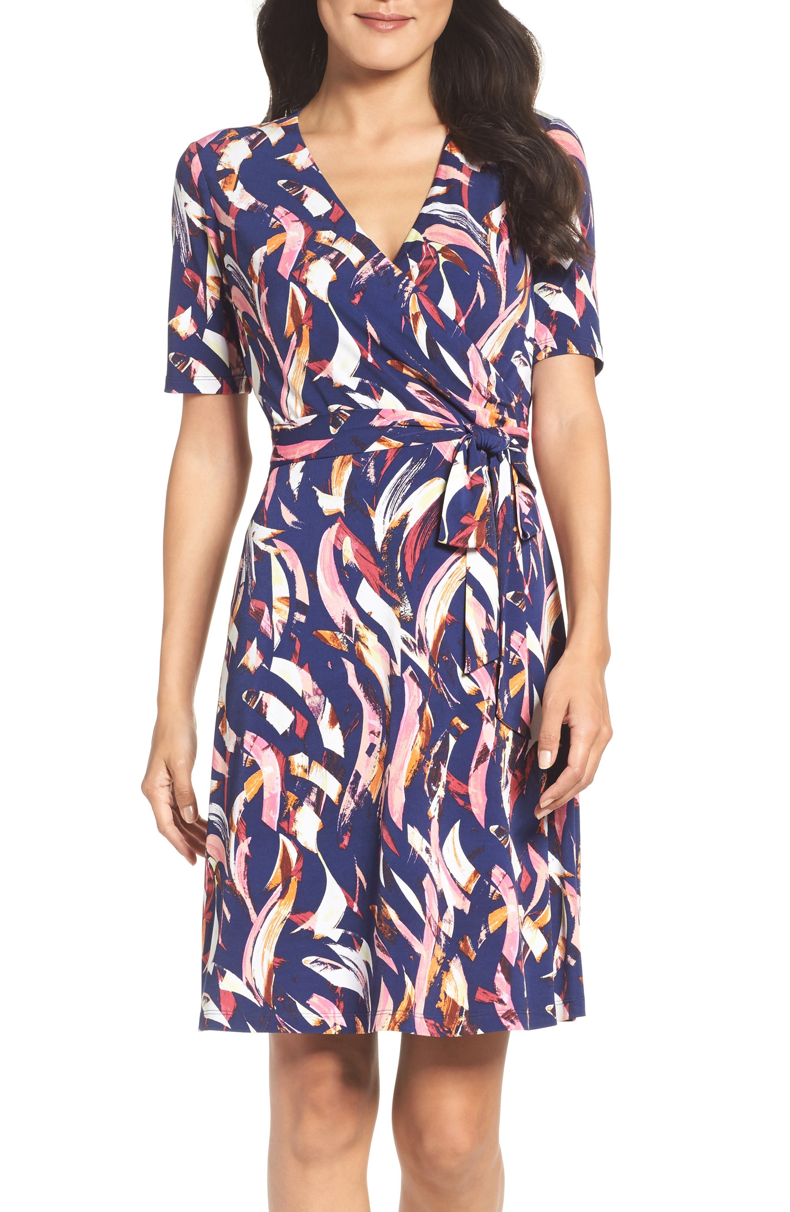 Ellen Tracy Jersey Faux Wrap Dress