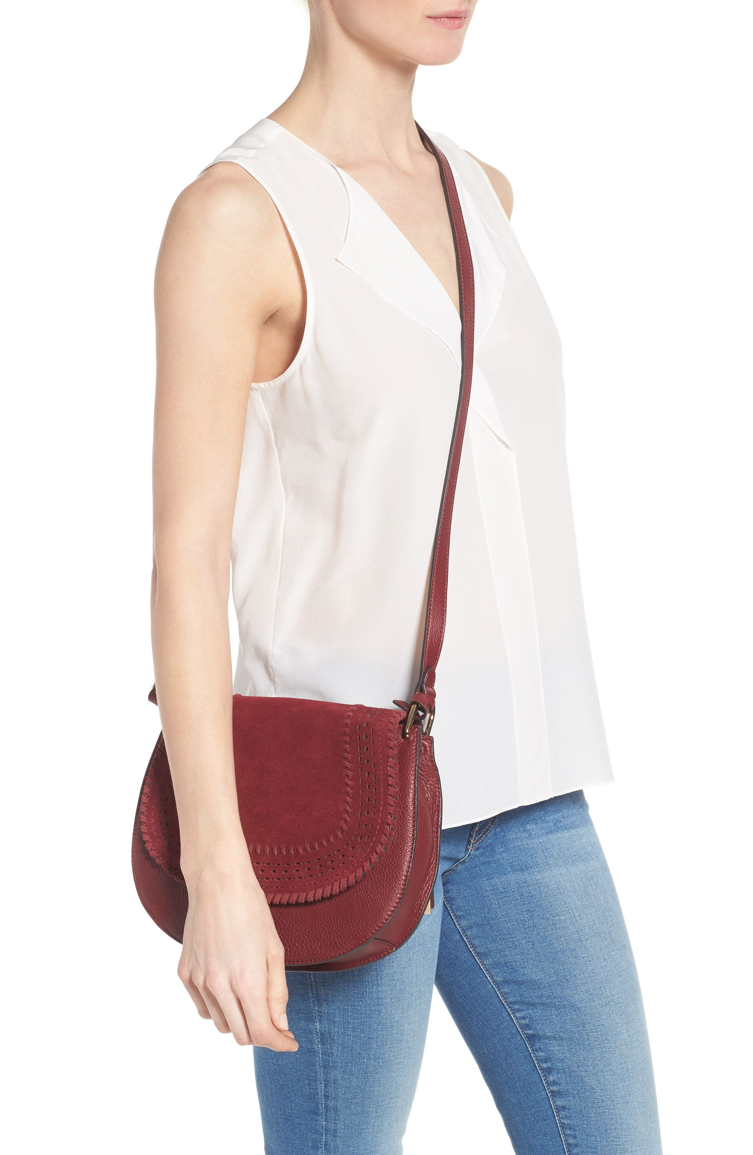 Alternate Image 2  - Vince Camuto Kirie Suede & Leather Crossbody Saddle Bag (Nordstrom Exclusive)