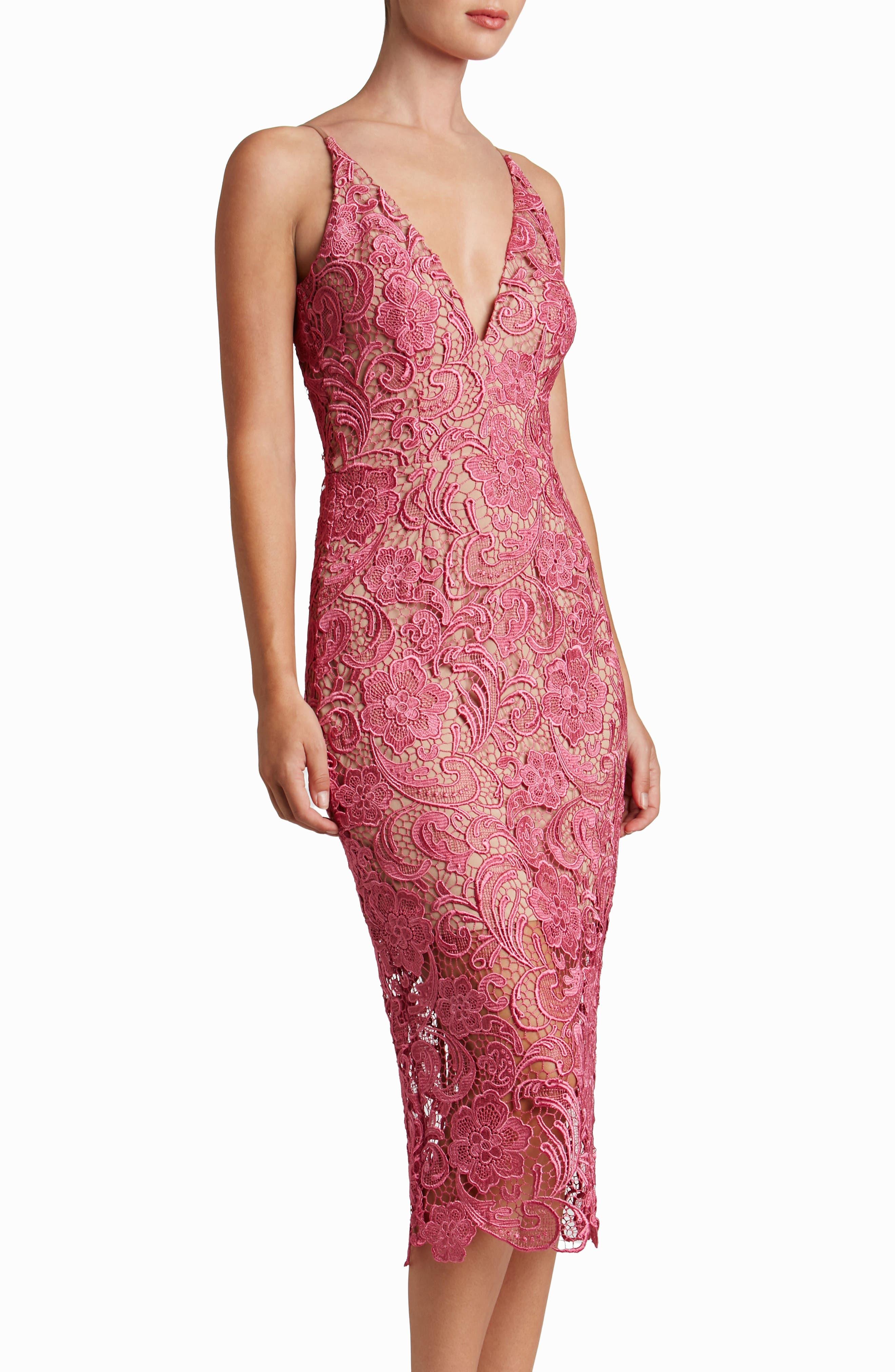 Alternate Image 2  - Dress the Population 'Marie' Lace Midi Dress