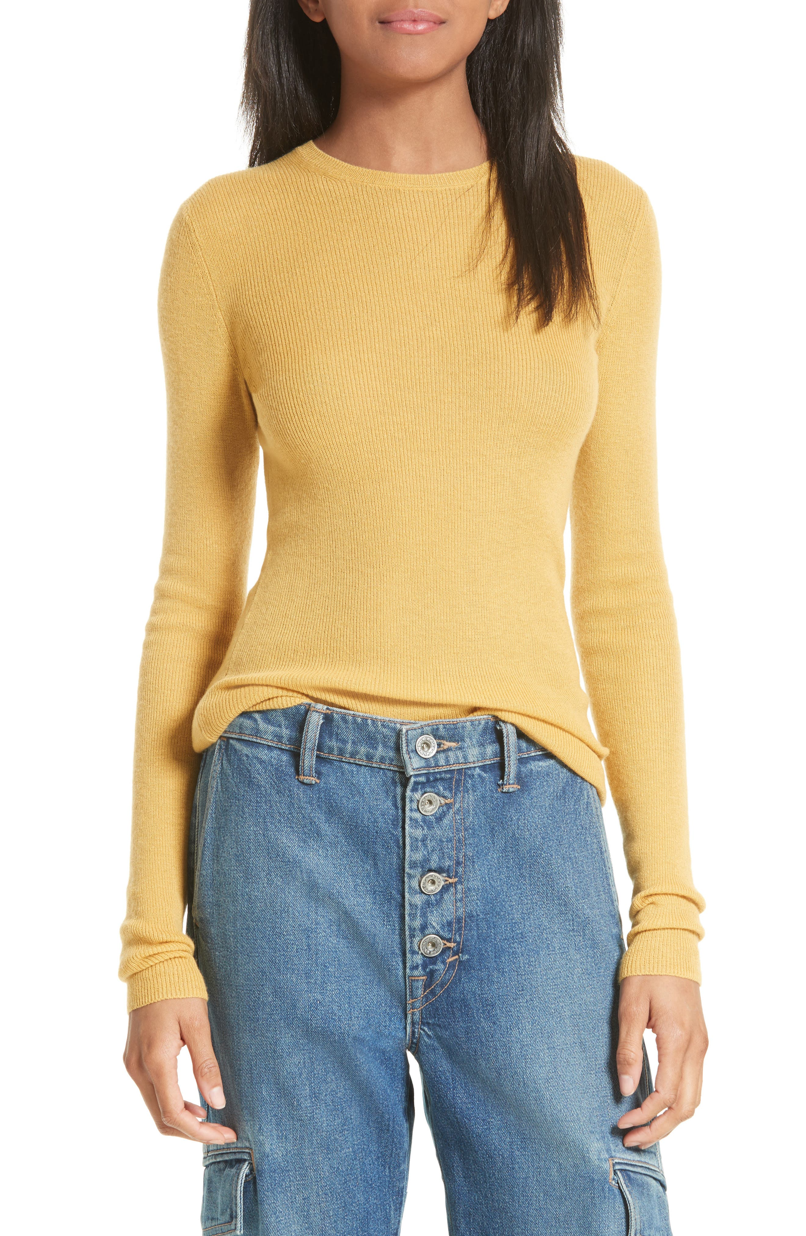 Alternate Image 1 Selected - Vince Ribbed Cashmere Sweater