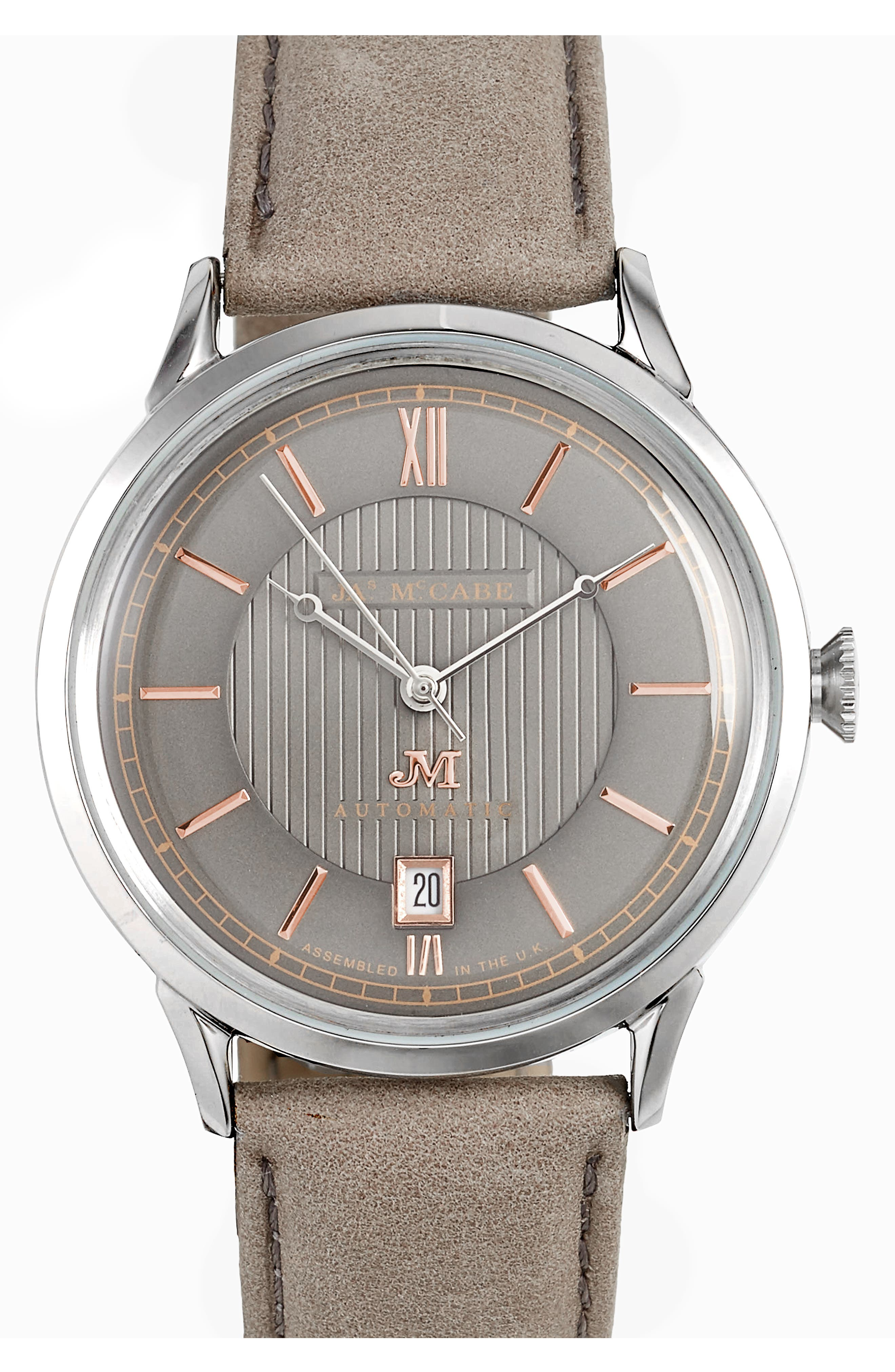 James McCabe Heritage II Automatic Leather Strap Watch, 38mm