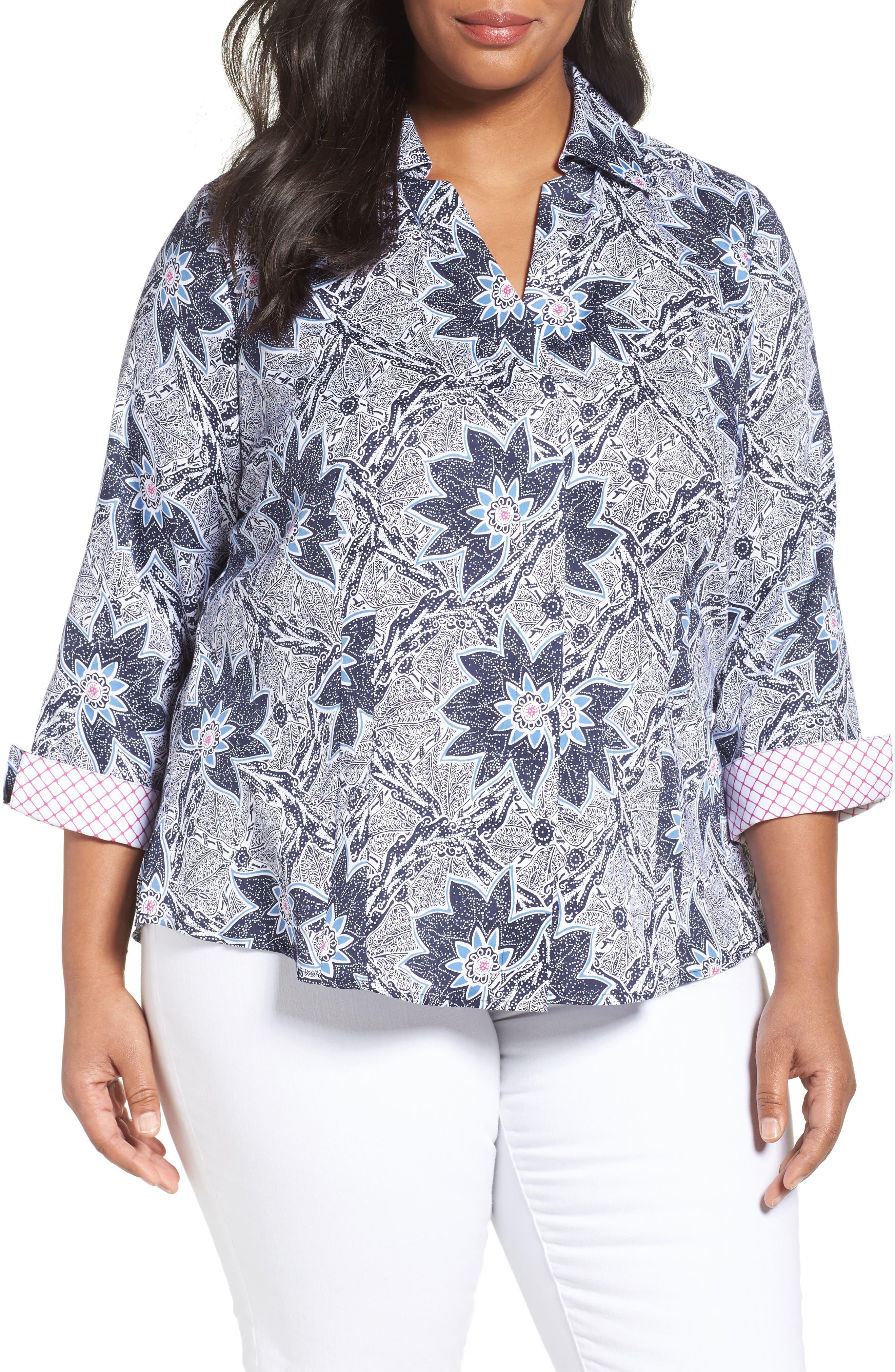 Foxcroft Taylor Non-Iron Print Cotton Shirt (Plus Size)