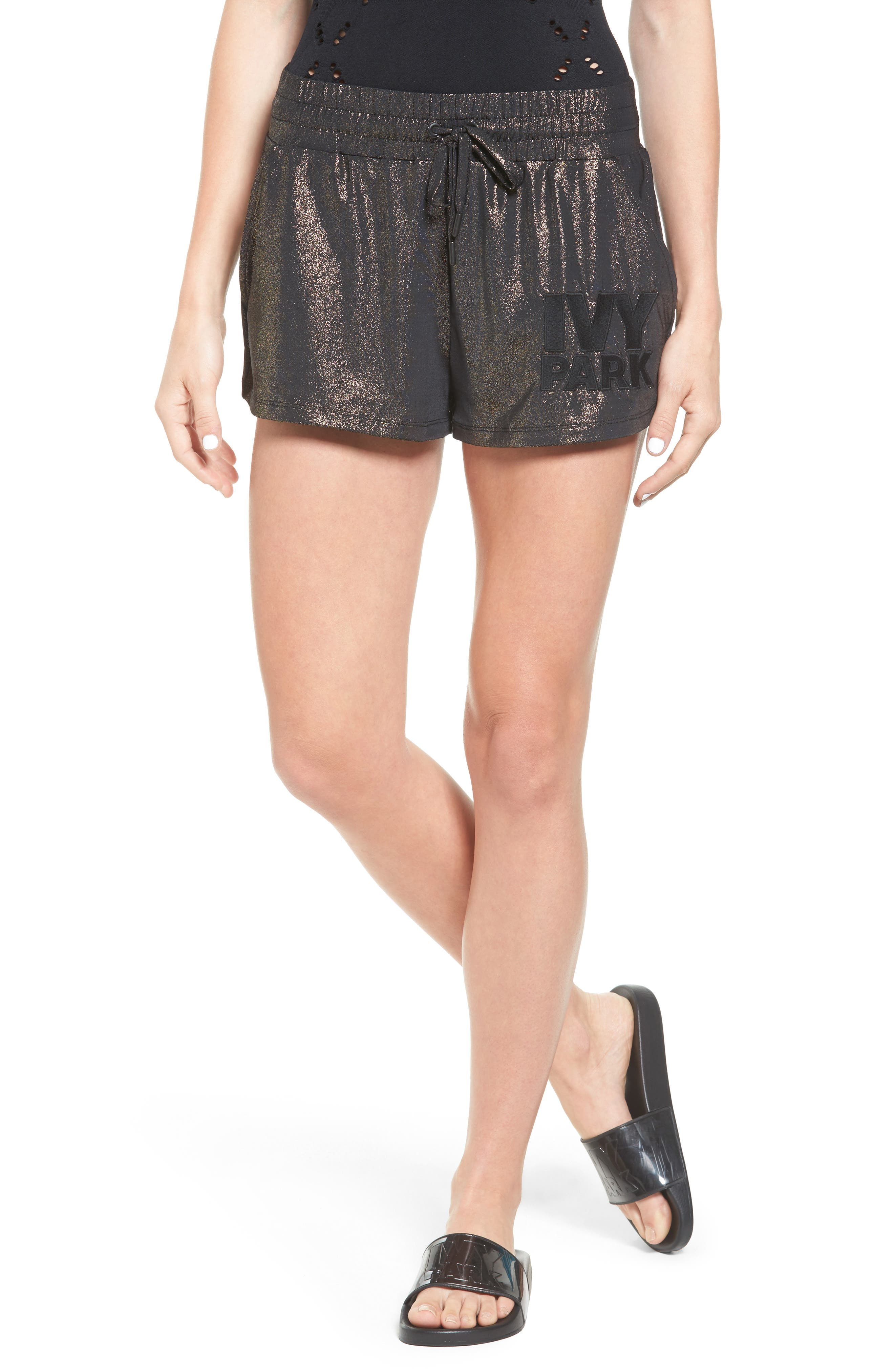 IVY PARK® Lamé Embroidered Logo Runner Shorts