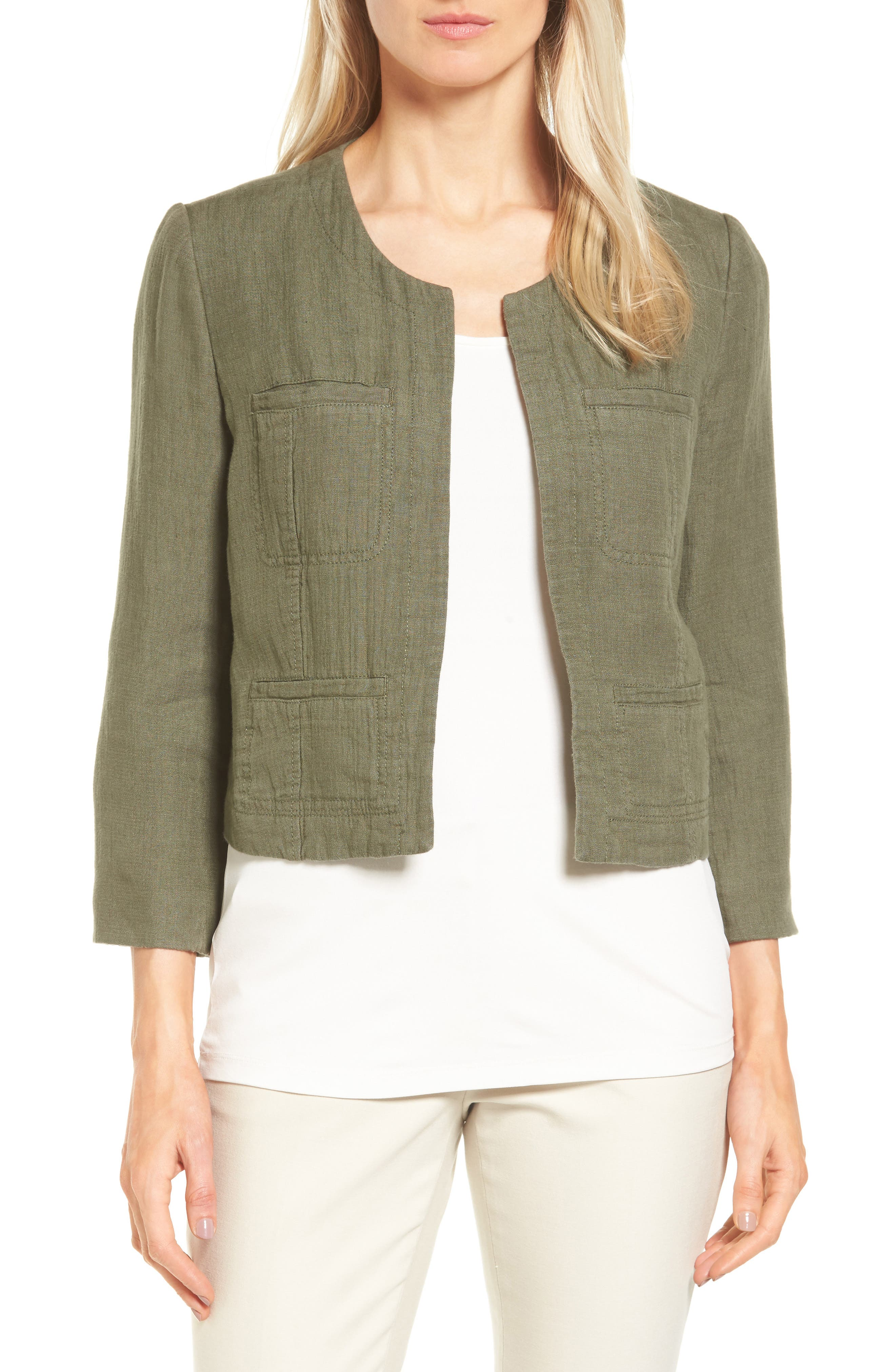 Nordstrom Collection Crop Linen & Cotton Jacket