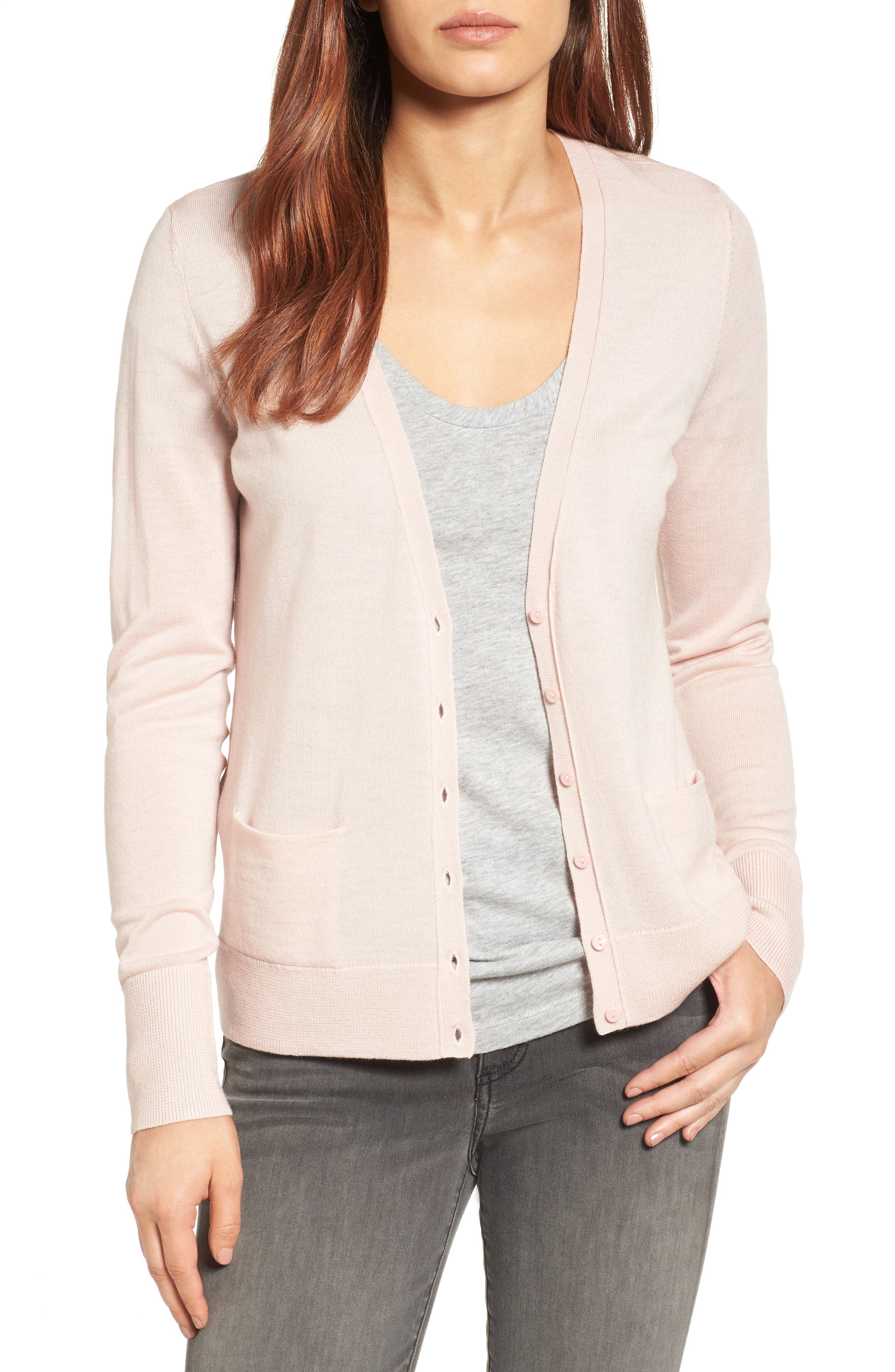 Halogen® V-Neck Merino Wool Cardigan (Regular & Petite)