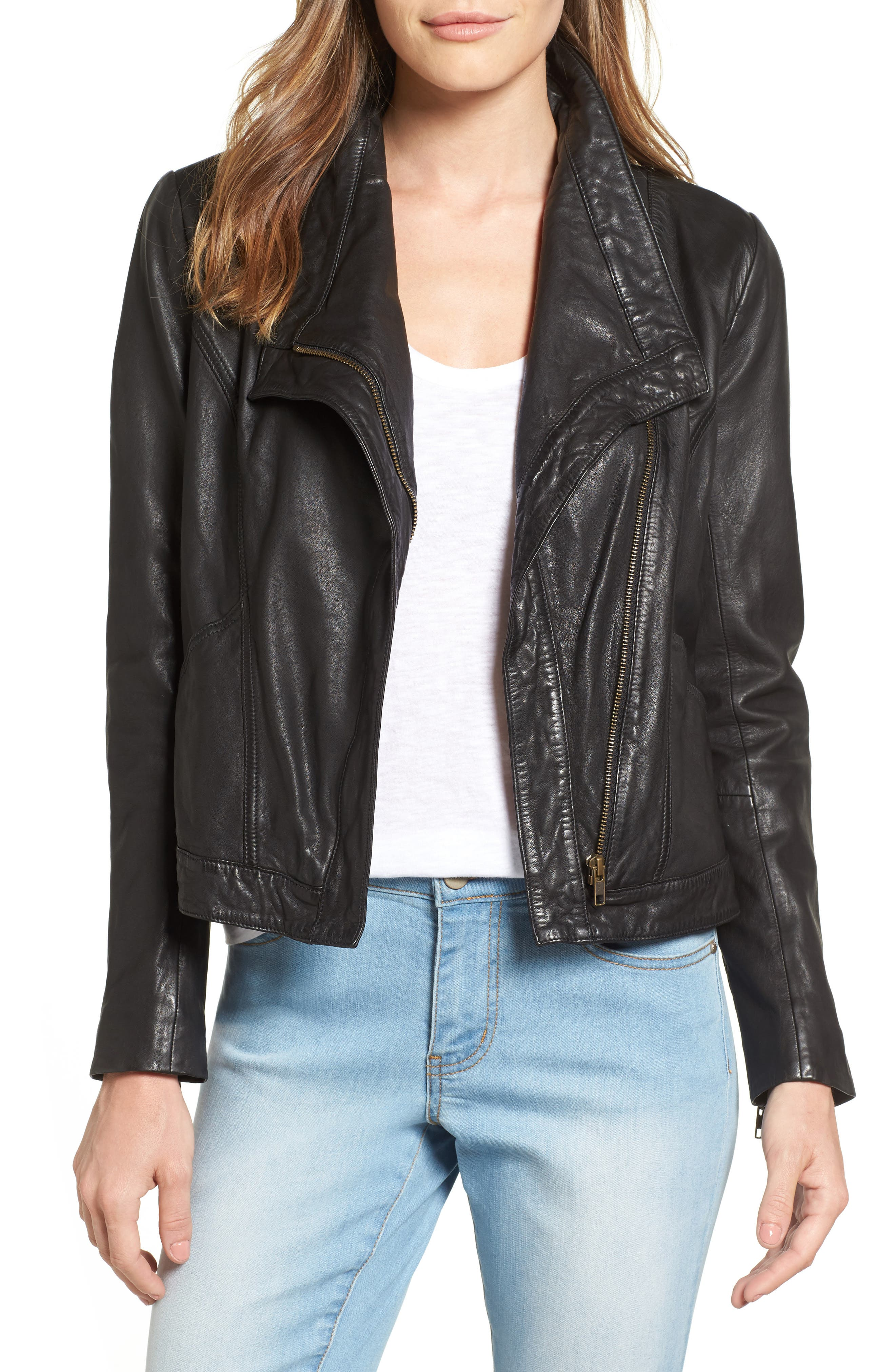 Caslon® Leather Jacket (Regular & Petite)