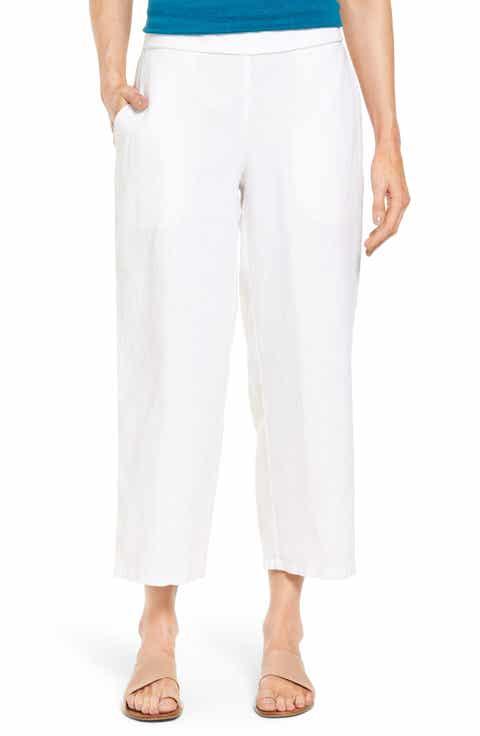 Eileen Fisher Organic Linen Crop Pants (Regular   Petite)
