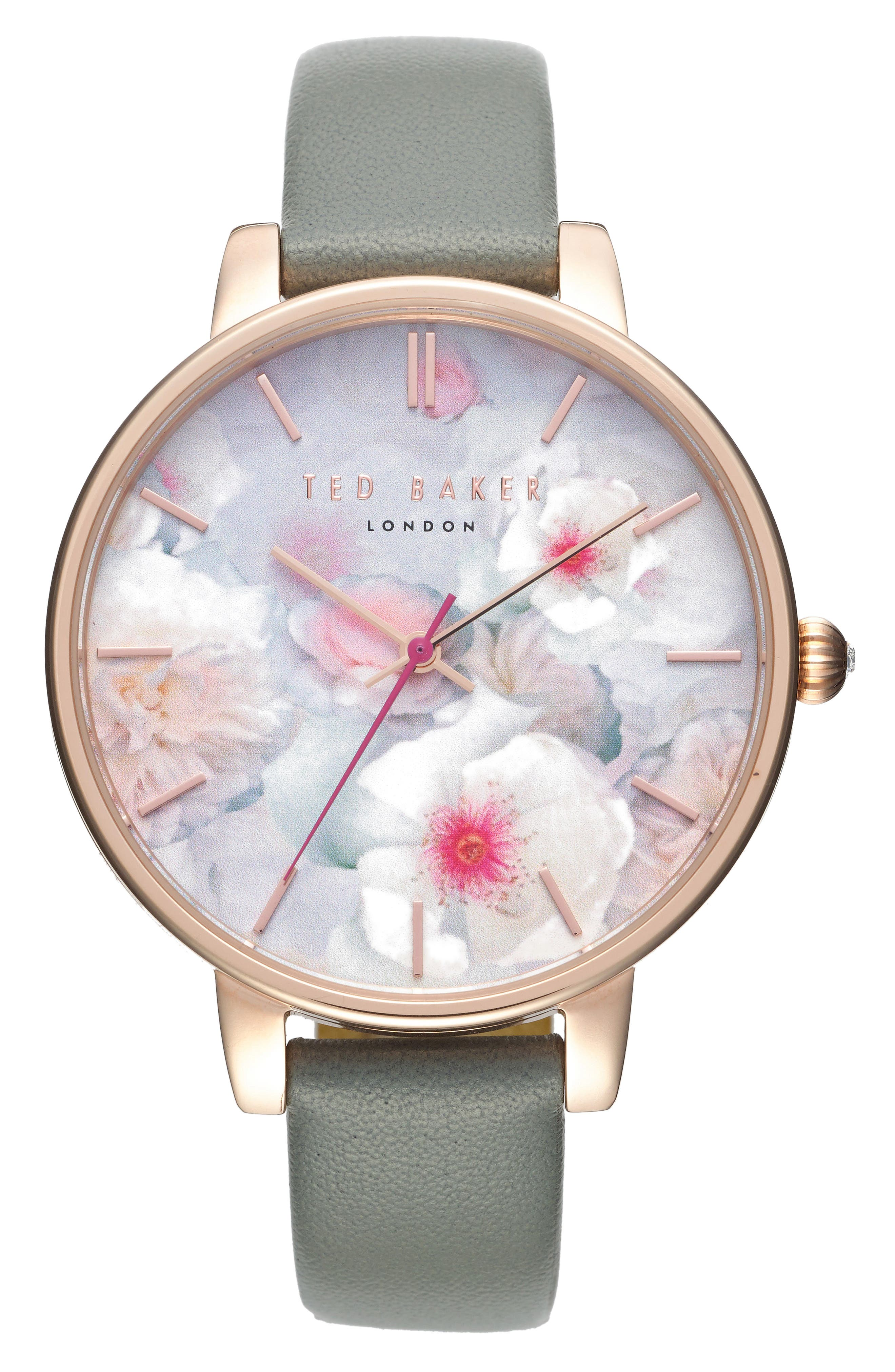 Ted Baker London Kate Print Dial Leather Strap Watch, 38mm