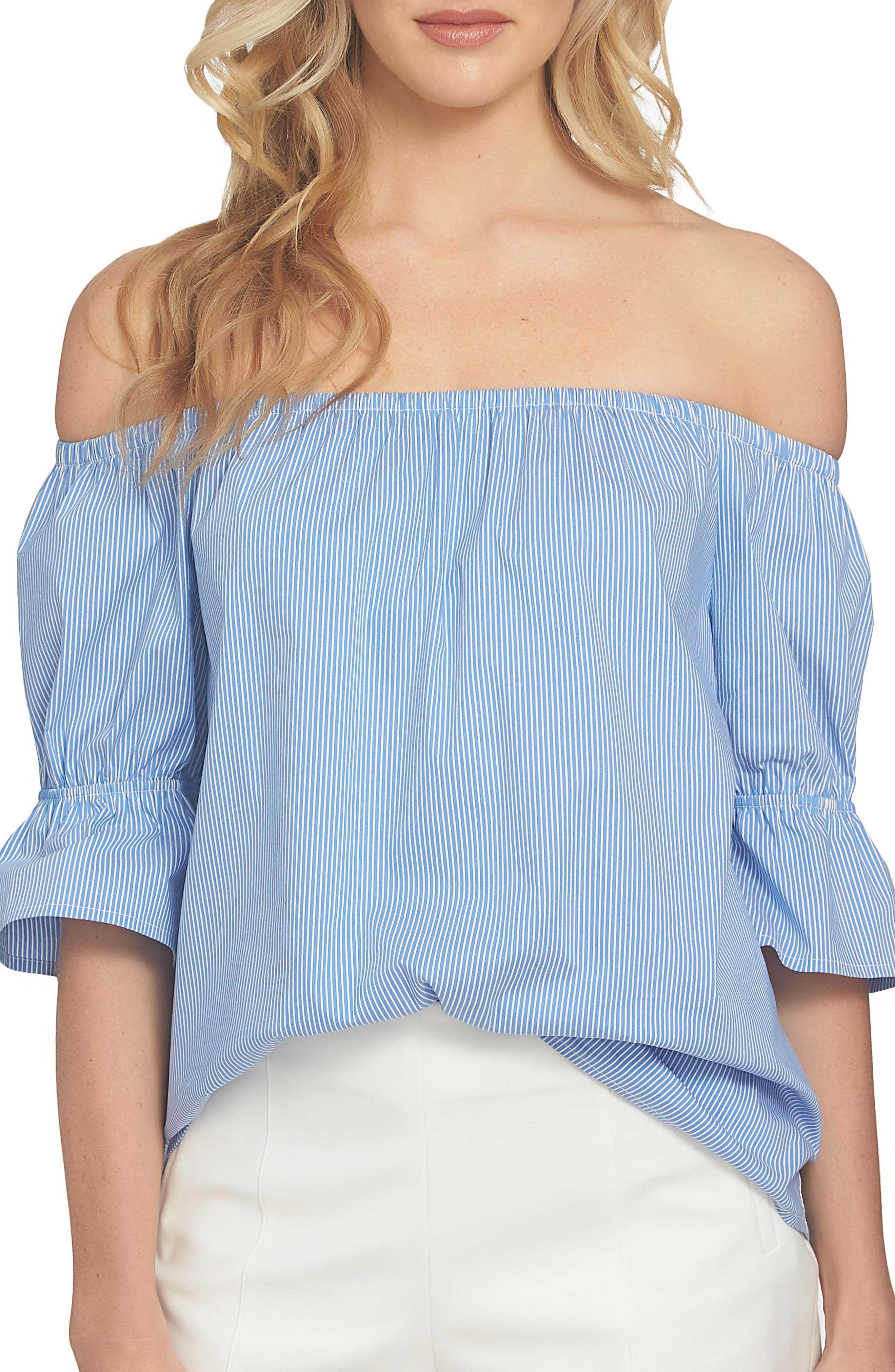 Main Image - 1.STATE Smocked Sleeve Off the Shoulder Top