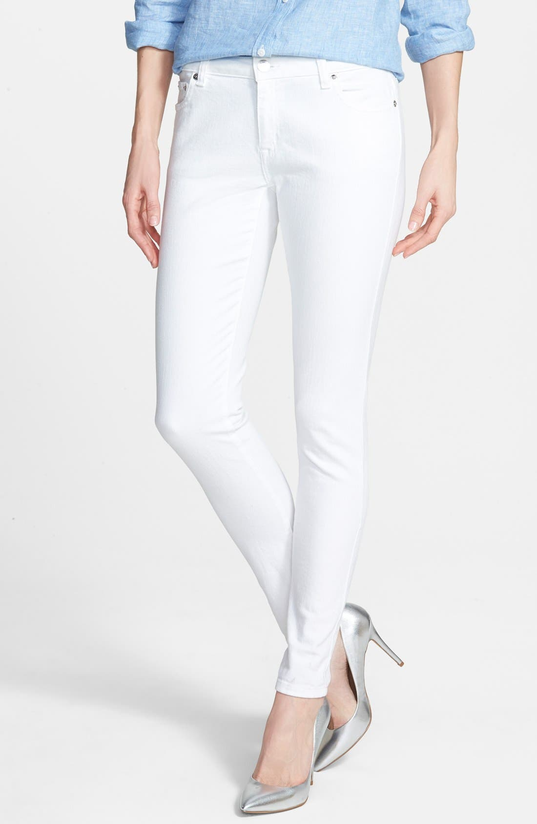 Alternate Image 1 Selected - MICHAEL Michael Kors White Skinny Jeans