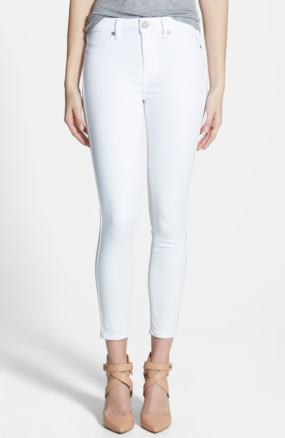 Alternate Image 1 Selected - Paige Denim Hoxton High Waist Skinny Jeans (Ultra White)