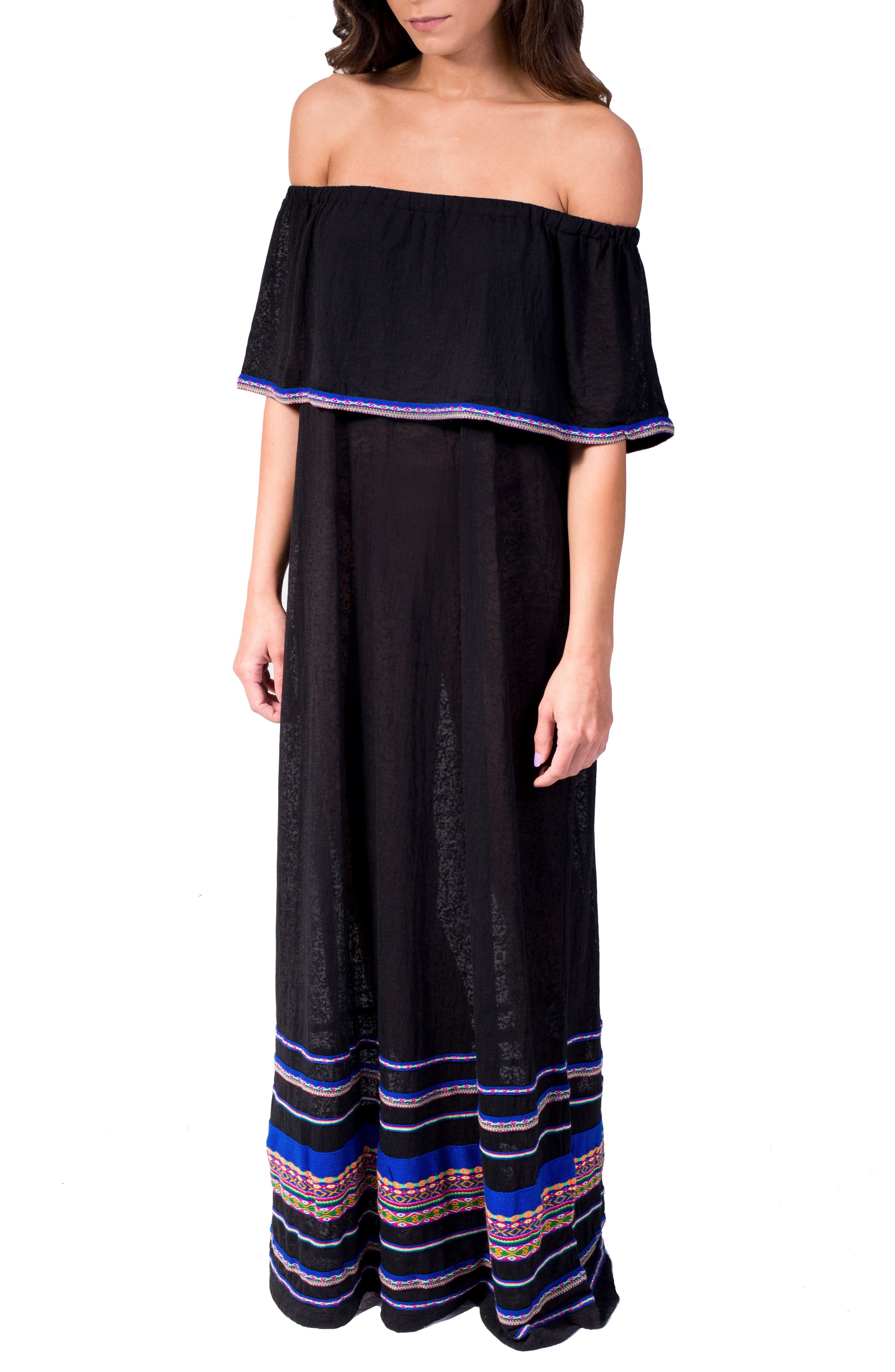 PITUSA Off the Shoulder Maxi Cover-Up Dress