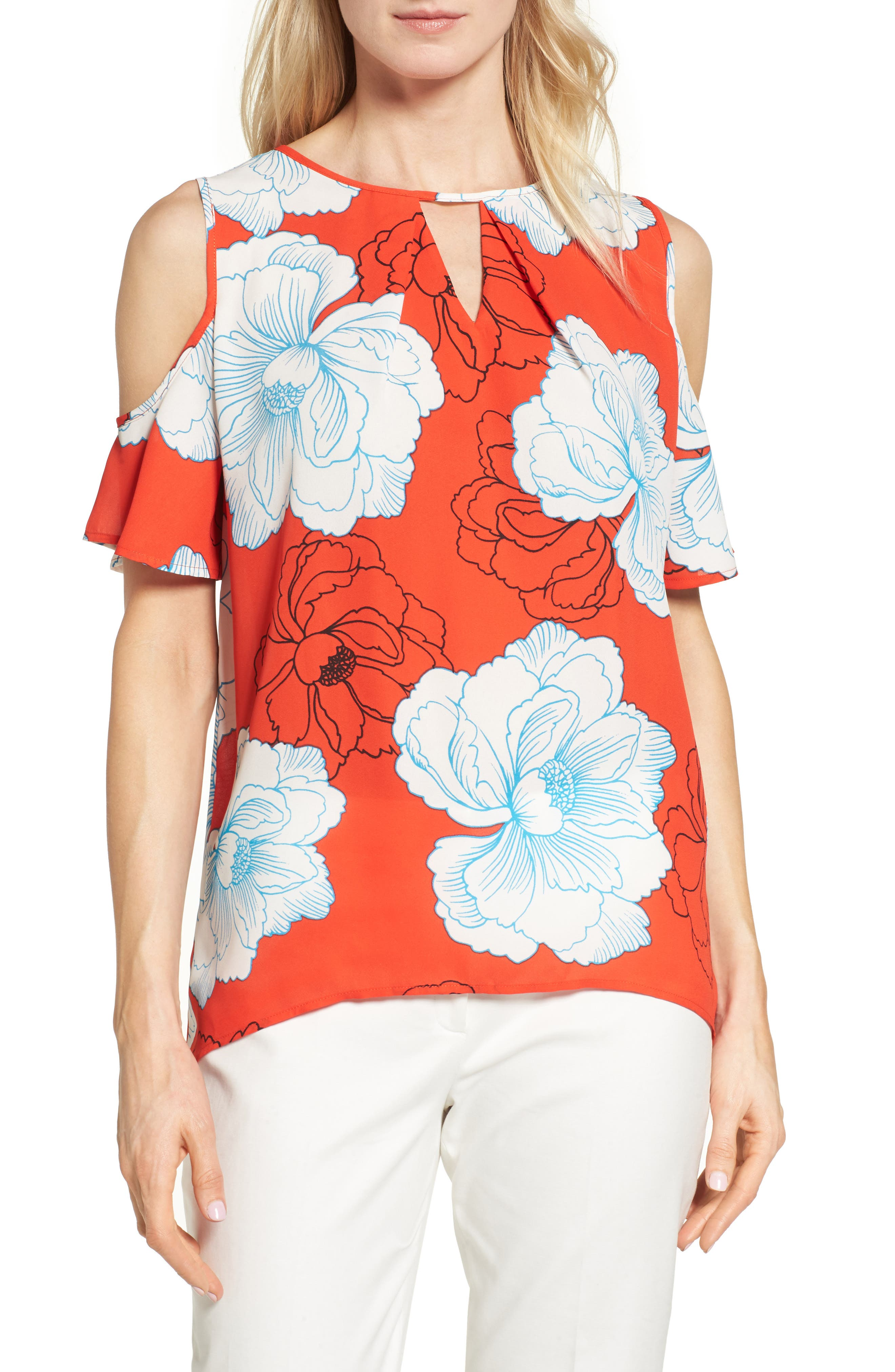 Chaus Peony Print Cold Shoulder Blouse