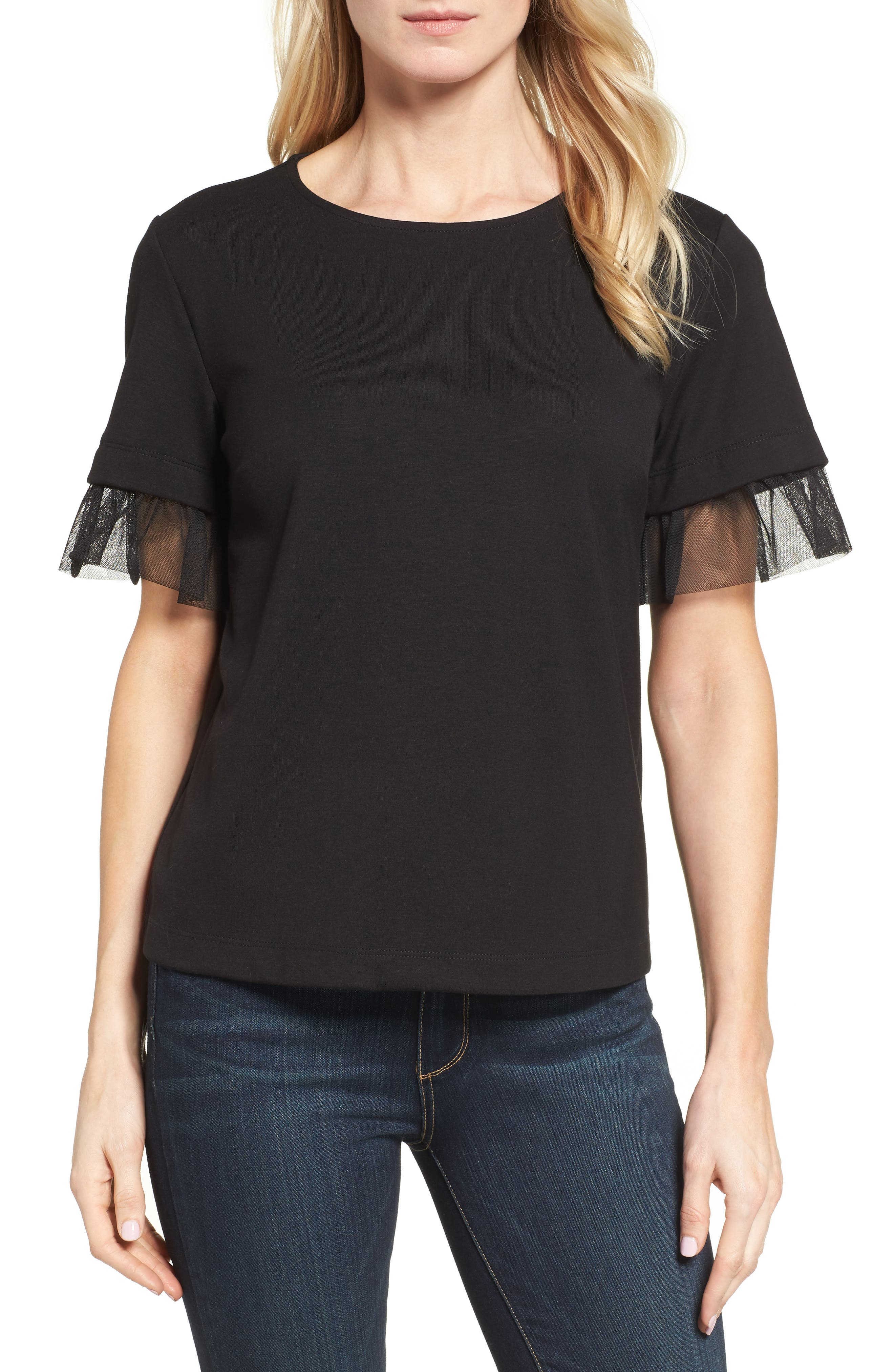 Halogen® Tulle Trim Tee (Regular & Petite)