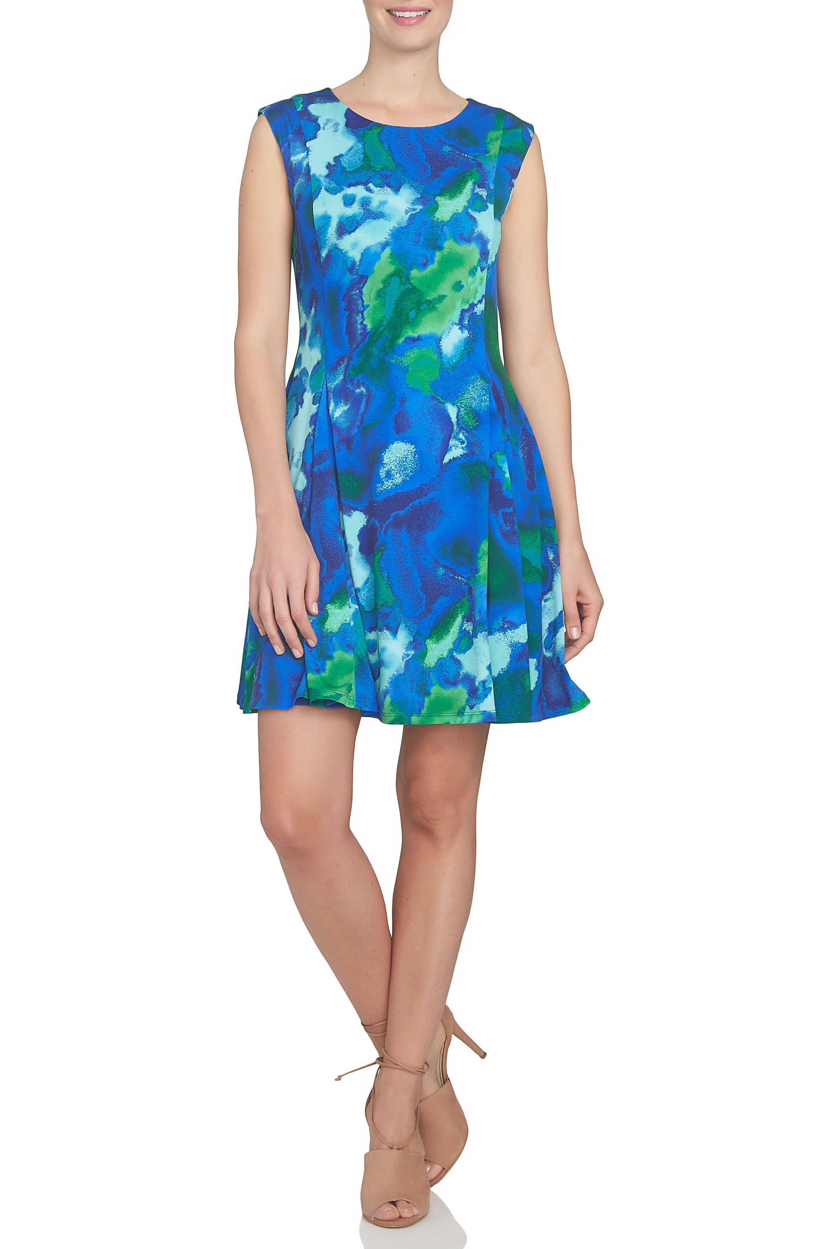 CeCe Watercolor Print A-Line Knit Dress