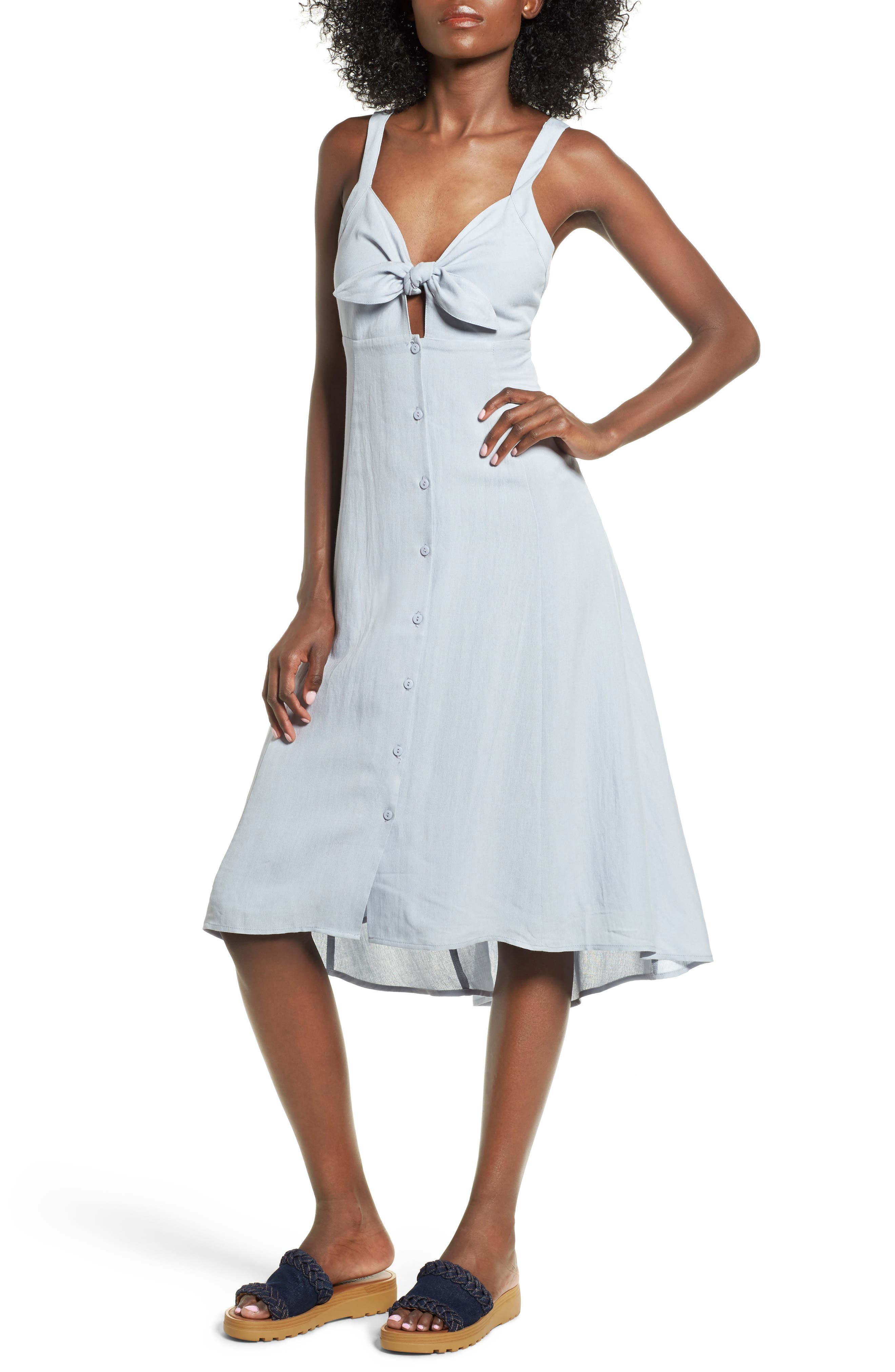 Alternate Image 1 Selected - ASTR the Label Tie Front Midi Dress