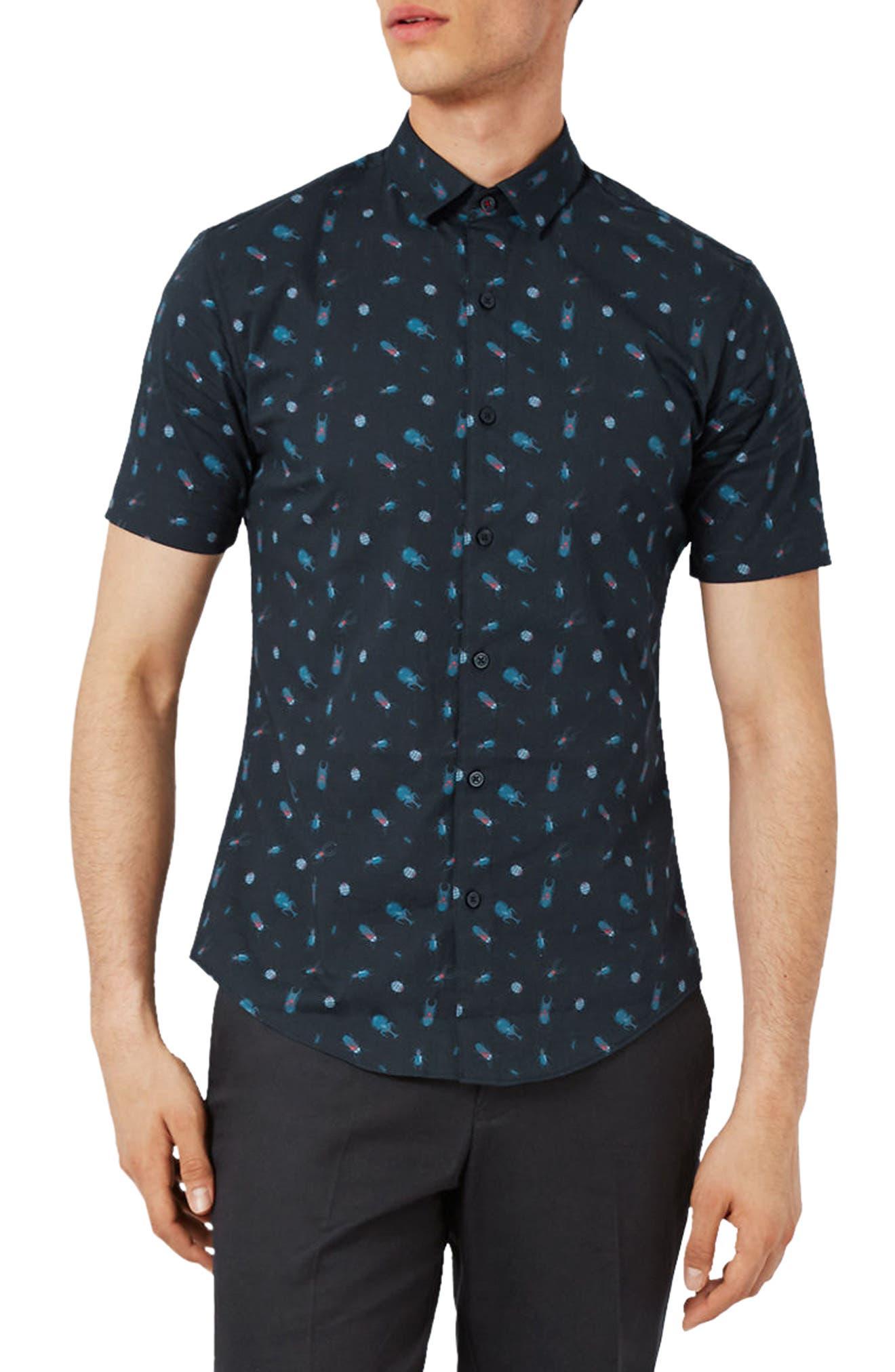 Topman Muscle Fit Bug Print Shirt