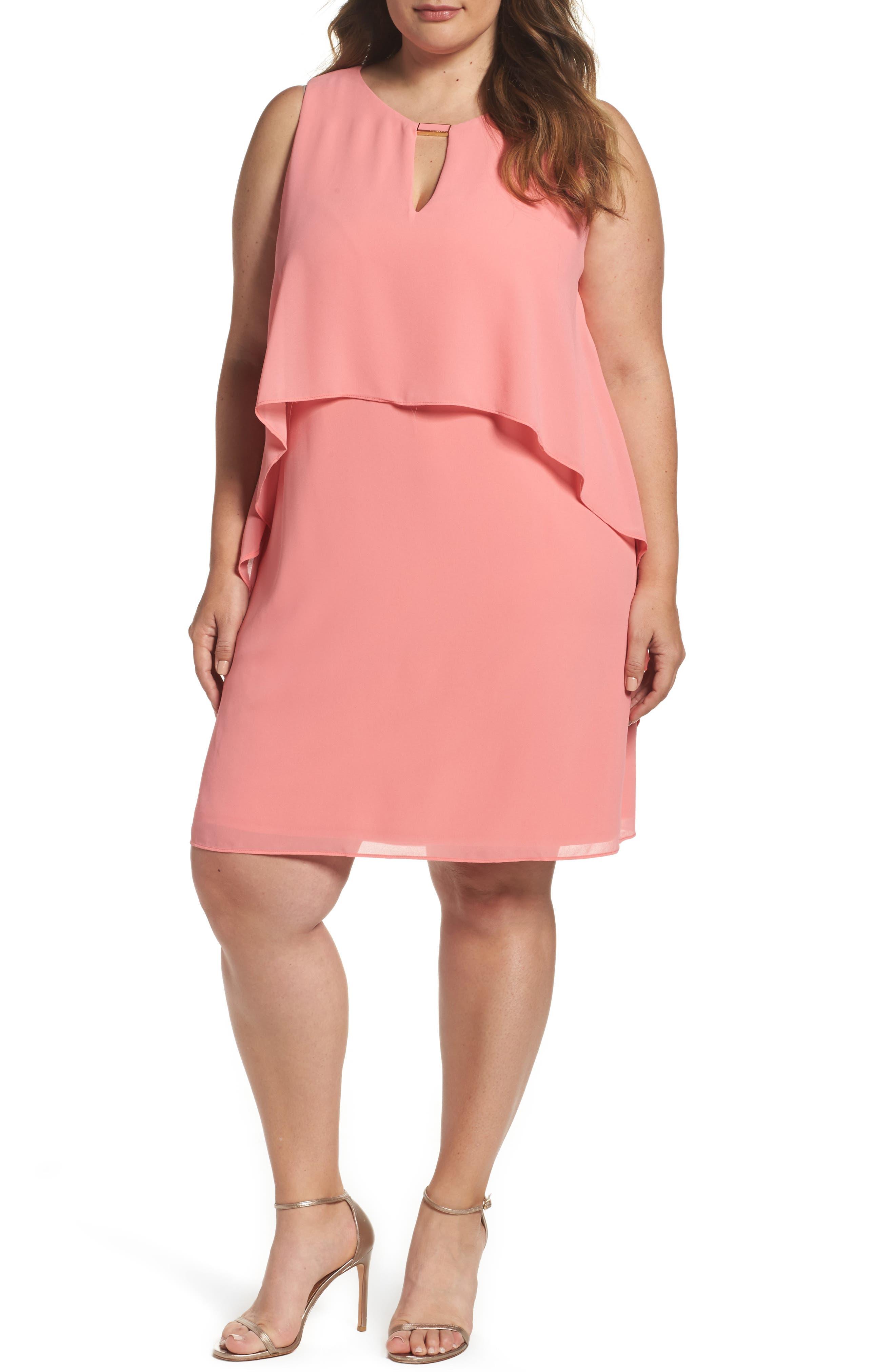 Vince Camuto Chiffon Shift Dress (Plus Size)