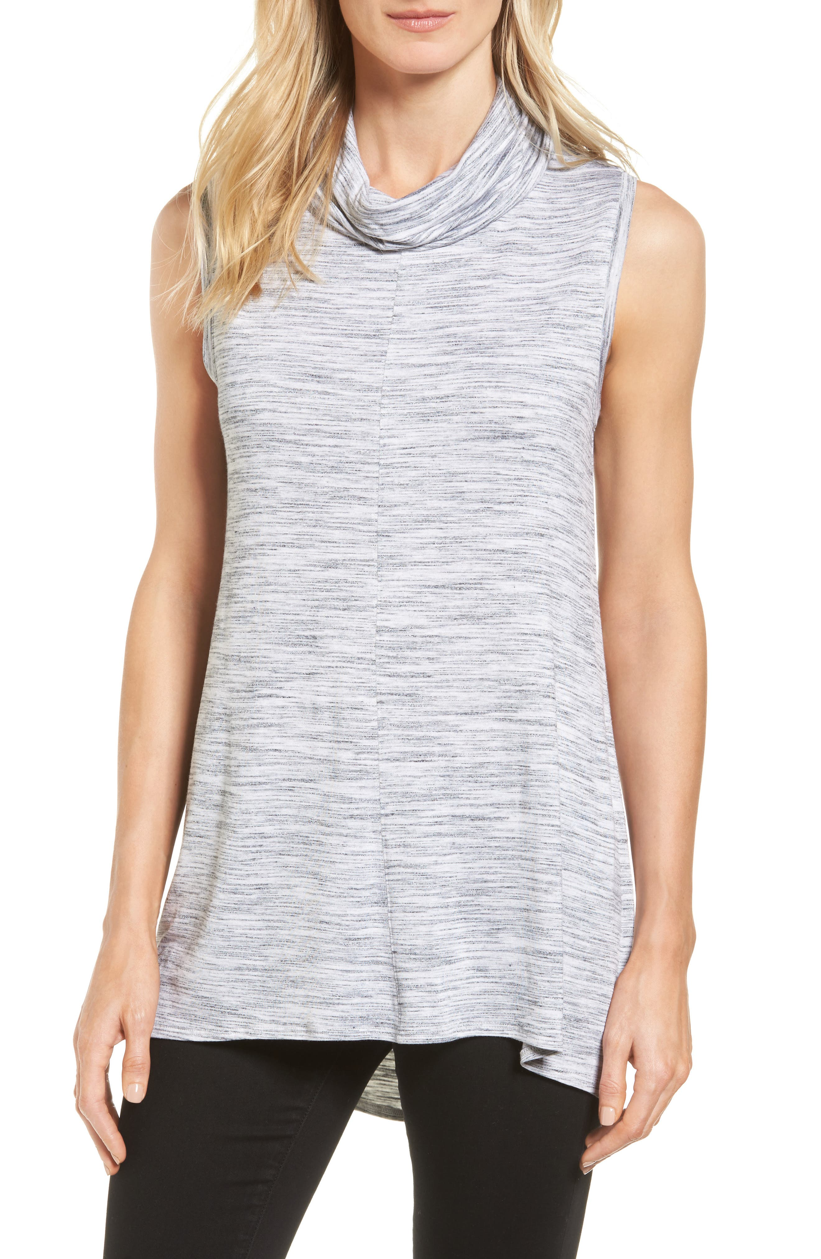 Two by Vince Camuto Space Dye Jersey Cowl Neck Top