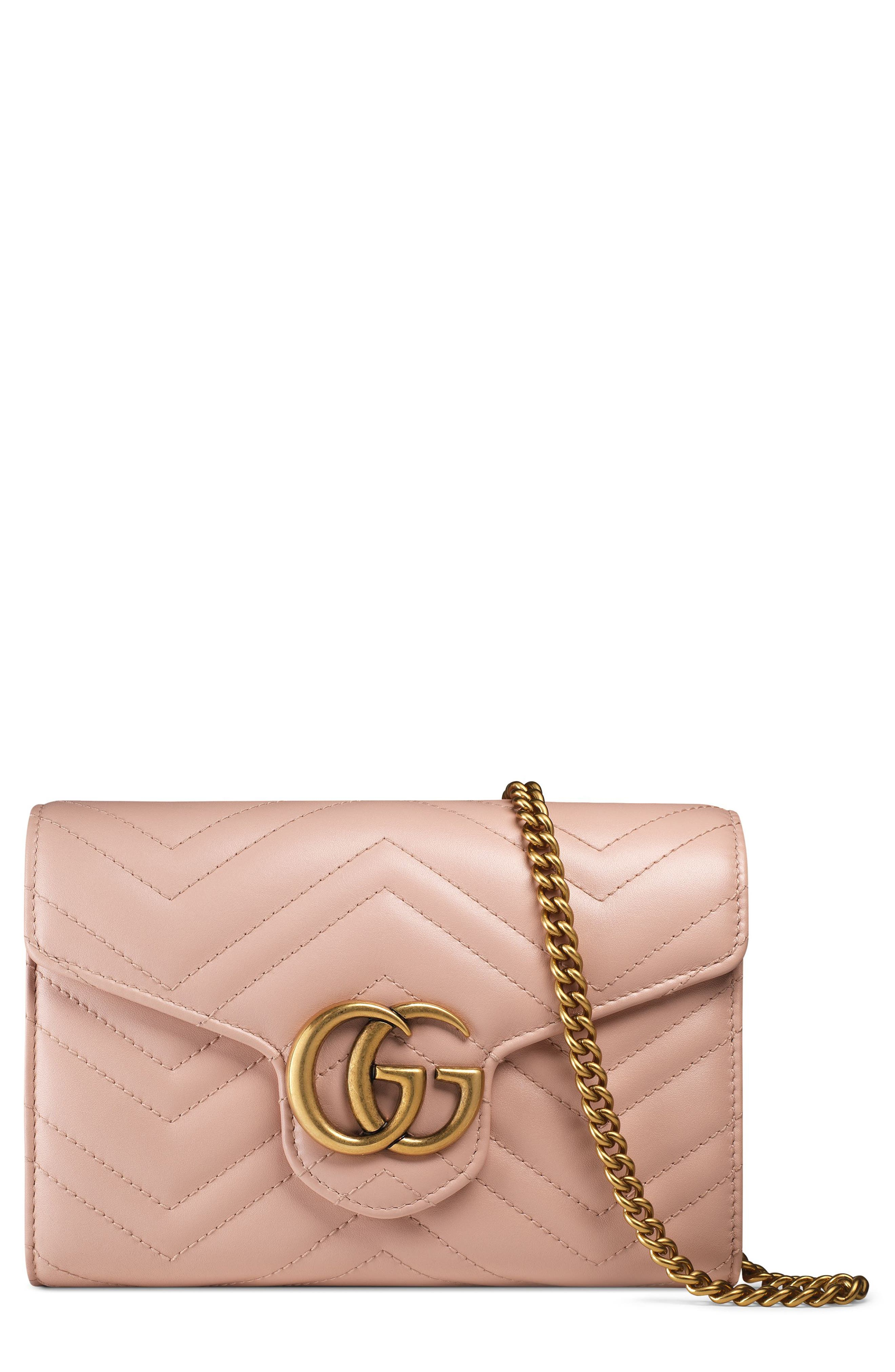 Gucci GG Marmont Matelassé Leather Wallet on a Chain