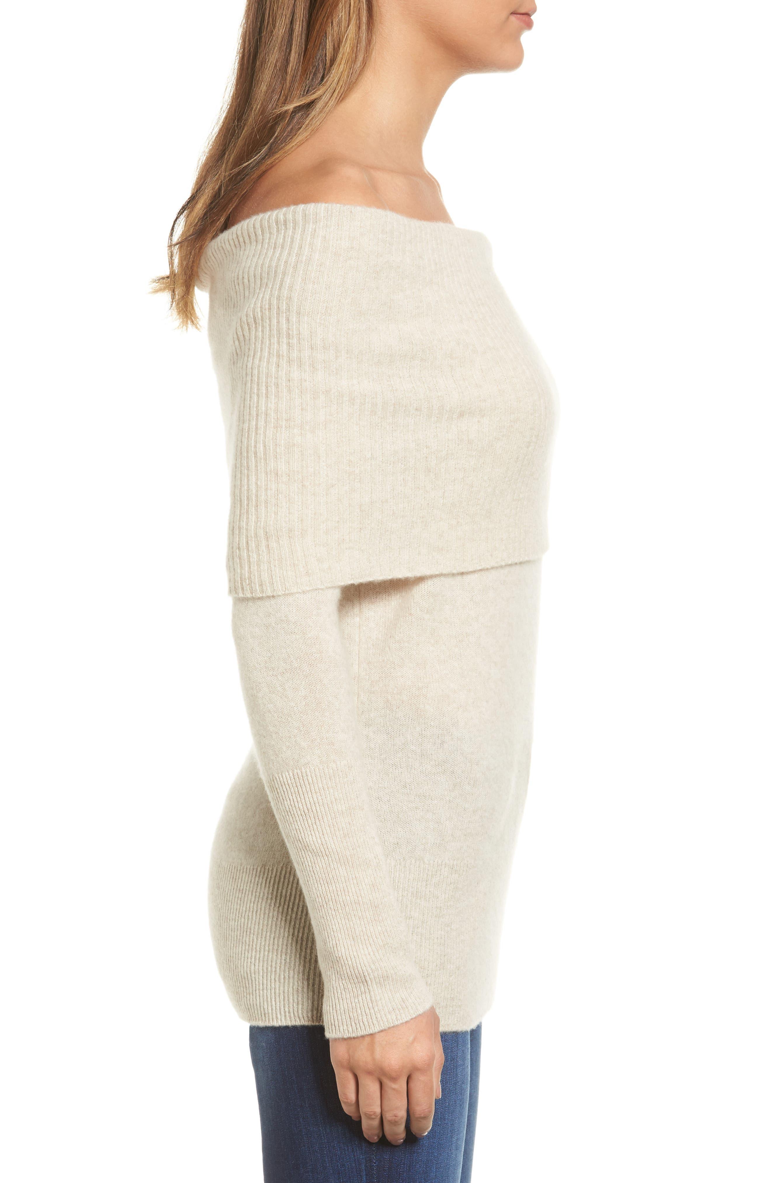 Alternate Image 3  - Halogen® Cashmere Off the Shoulder Sweater (Regular & Petite)